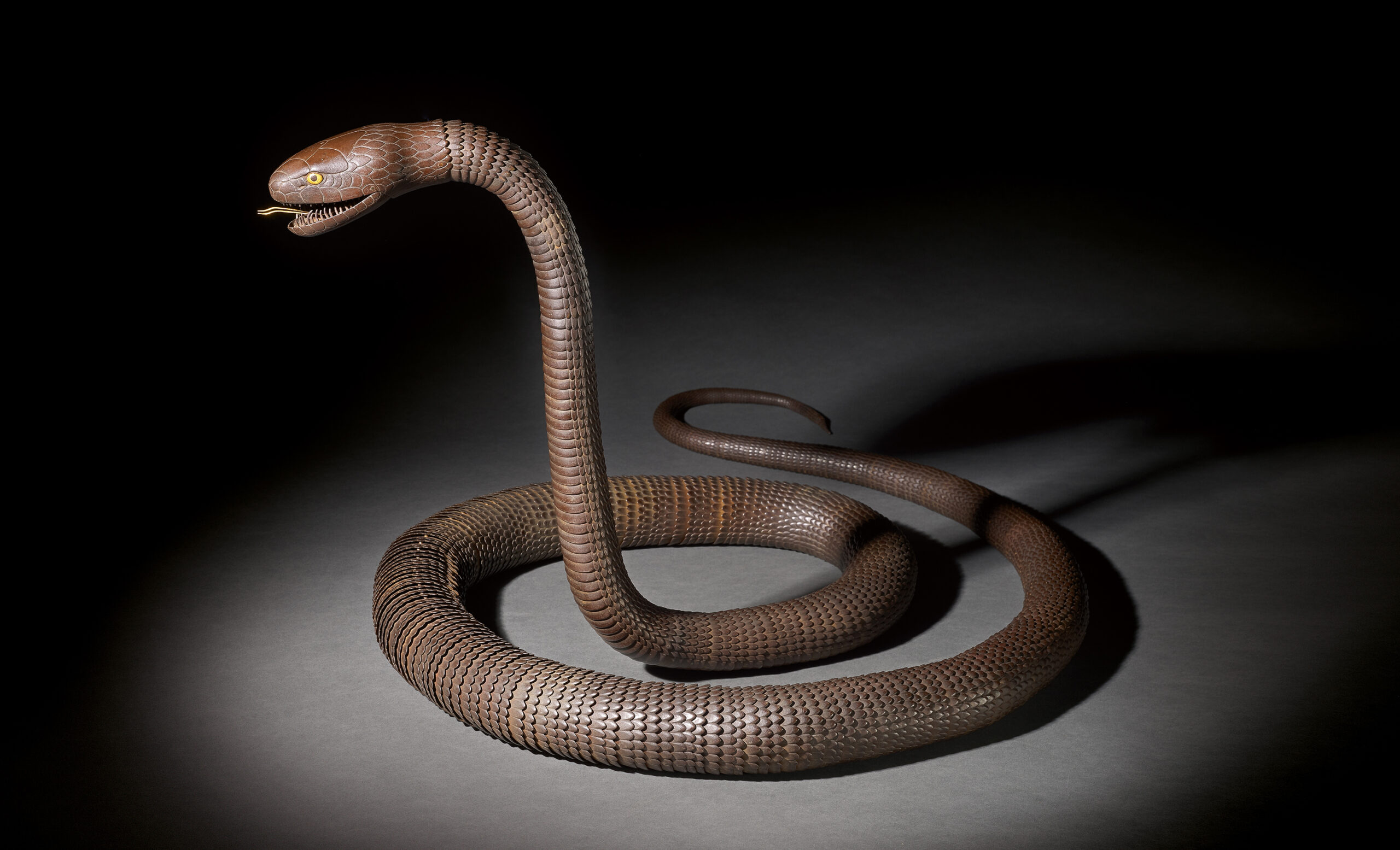 AN IRON ARTICULATED MODEL OF AN EXCEPTIONALLY LONG SNAKE WITH INSCRIPTION TENSHŌ NI-SEINEN MYOCHIN SONSHUN SAKU, EDO PERIOD, 19TH CENTURY, 303 cm., 119 1/2 in. long