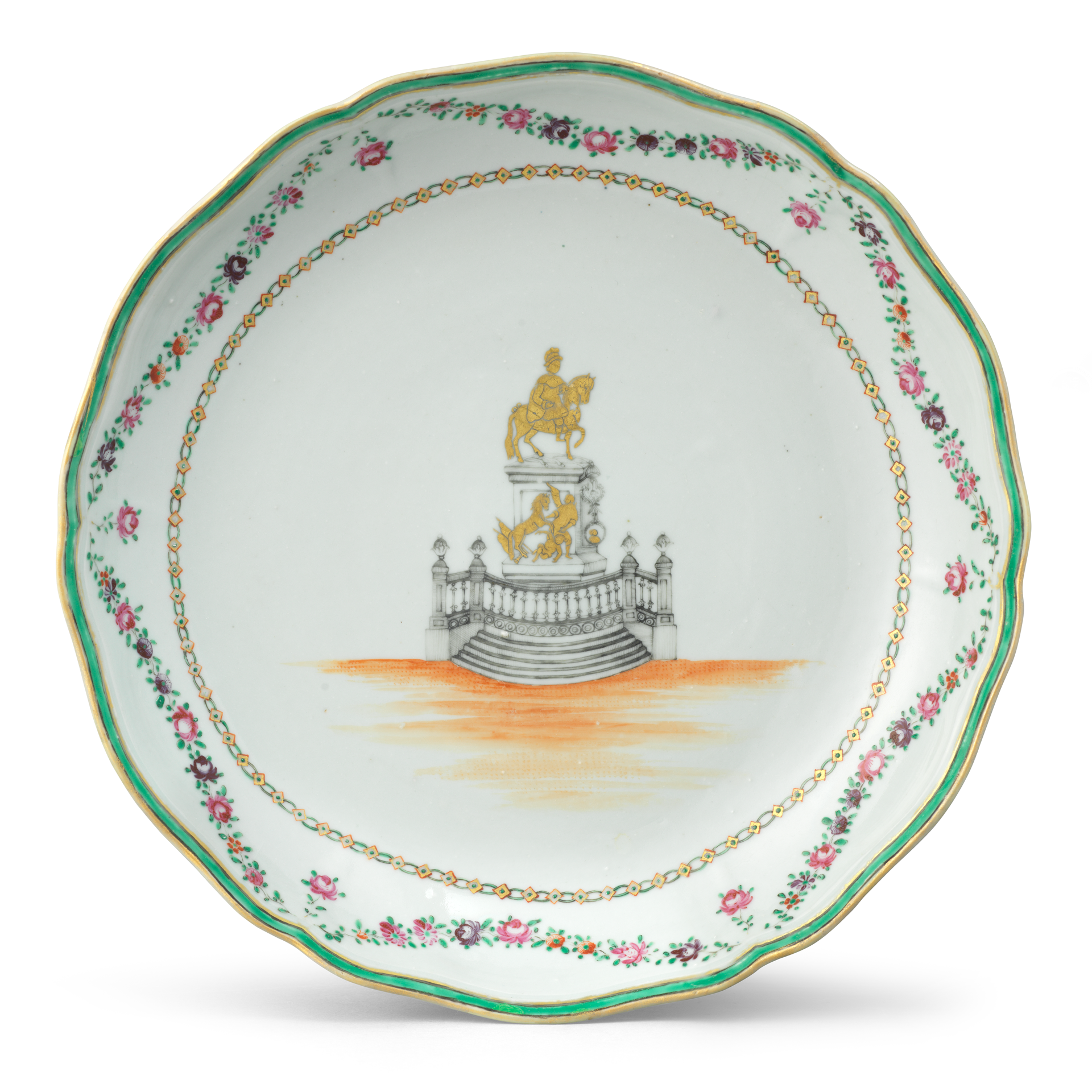 Saucer with the Equestrian Statue of Joseph I of Portugal, Porcelain decorated in overglaze polychrome enamels, grisaille, and gold, Qianlong period (1736-1795), ca. 1773
