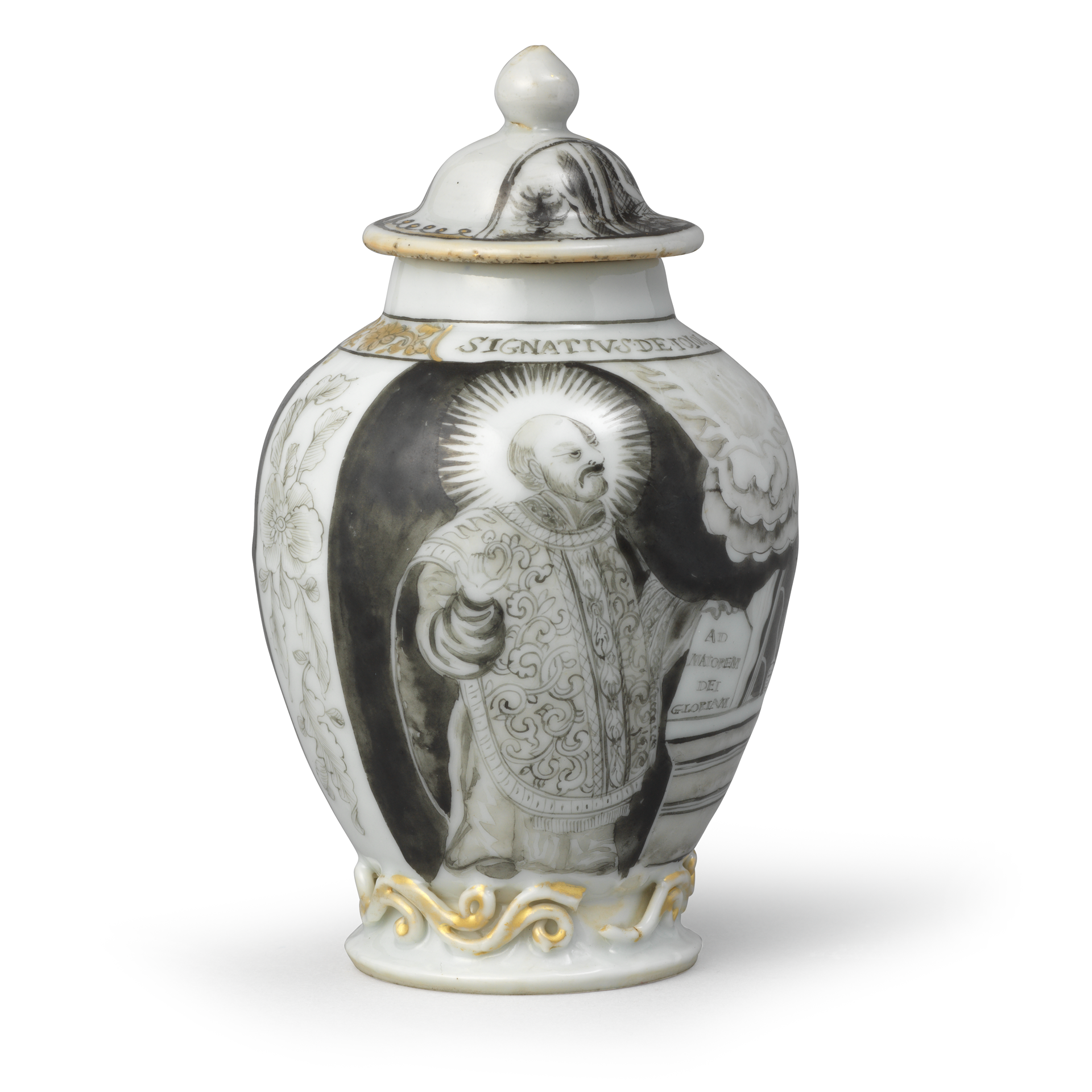 Tea Canister and Related Cover with portrait of St. Ignatius Loyola, Porcelain decorated in grisaille and gold, Qing dynasty, Qianlong period (1736-1795), ca. 1745