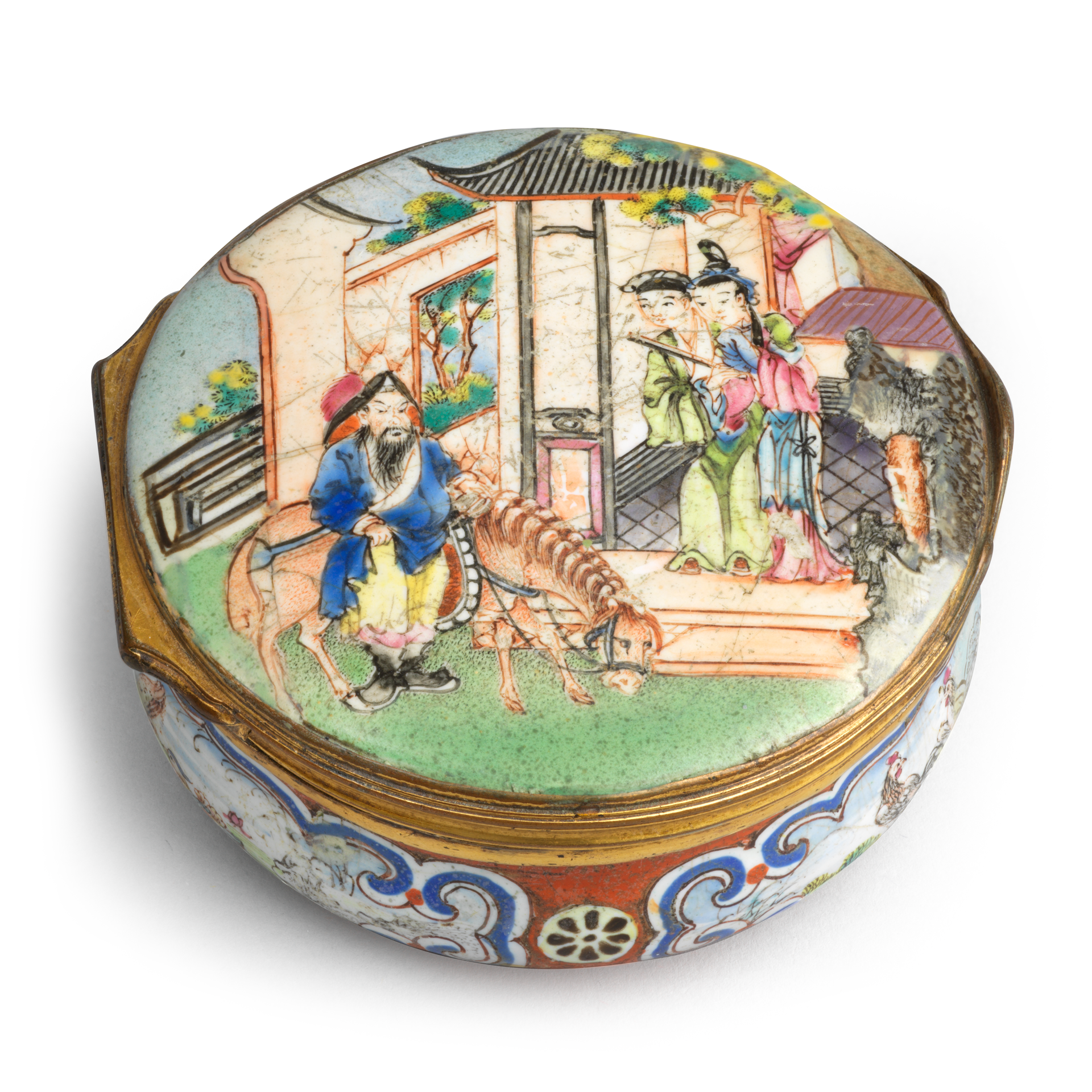 Snuff Box, Copper decorated with polychrome enamels; metal mounts, Qianlong period (1736-1795)