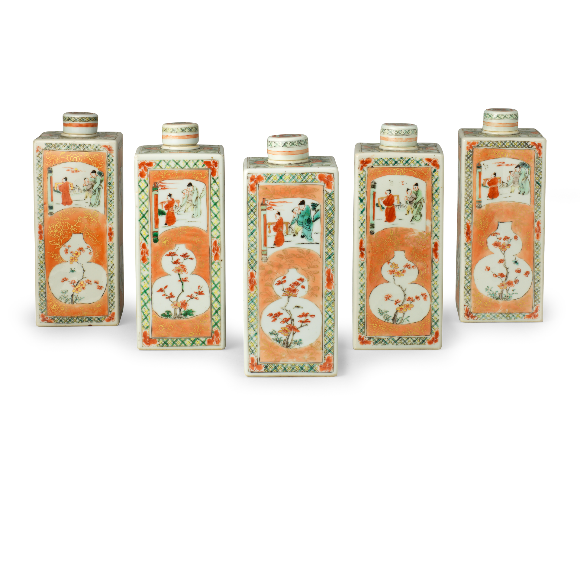 Five Bottles and Covers, Porcelain decorated in overglaze famille verte enamels and gold, Kangxi period (1662-1722)