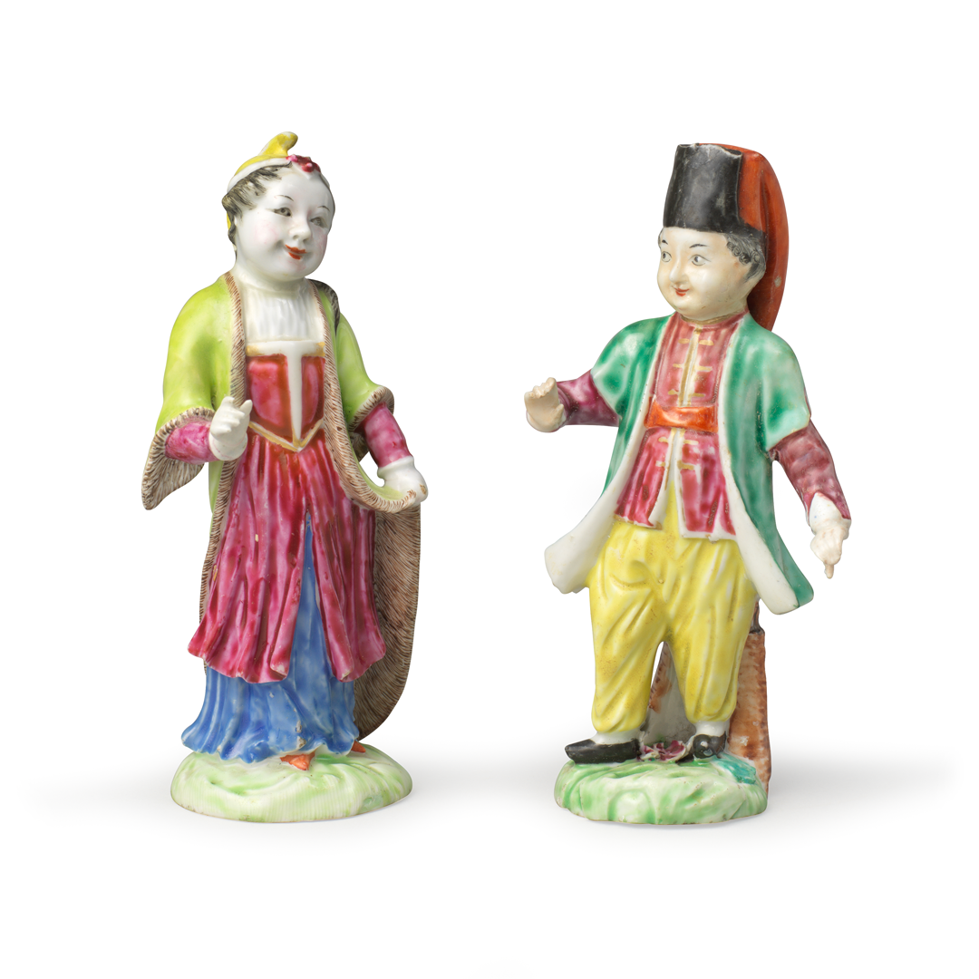 Pair of Figures in Turkish Dress, Porcelain decorated in overglaze famille rose enamels, Qing dynasty, Qianlong period (1736-1795), 1760-1770