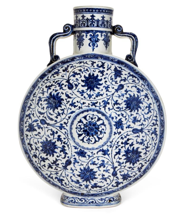 A Chinese porcelain blue & white moonflask, Qianlong period