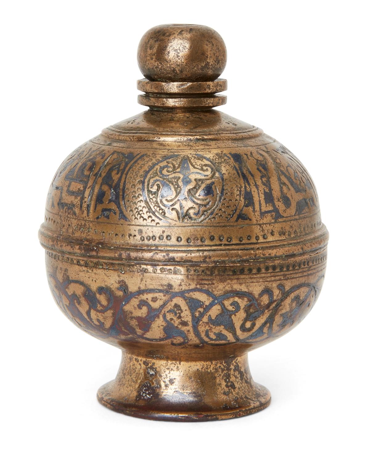 A niello decorated cast bronze incense burner finial, Khorasan, Iran, 11th-12th century
