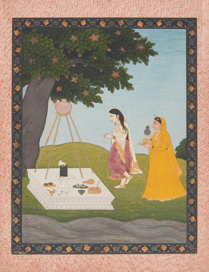 Devagandhari Ragini or Malkos Raga, attributable to the Guler artist Harkhu at Chamba, Pahari region, 1800-1820