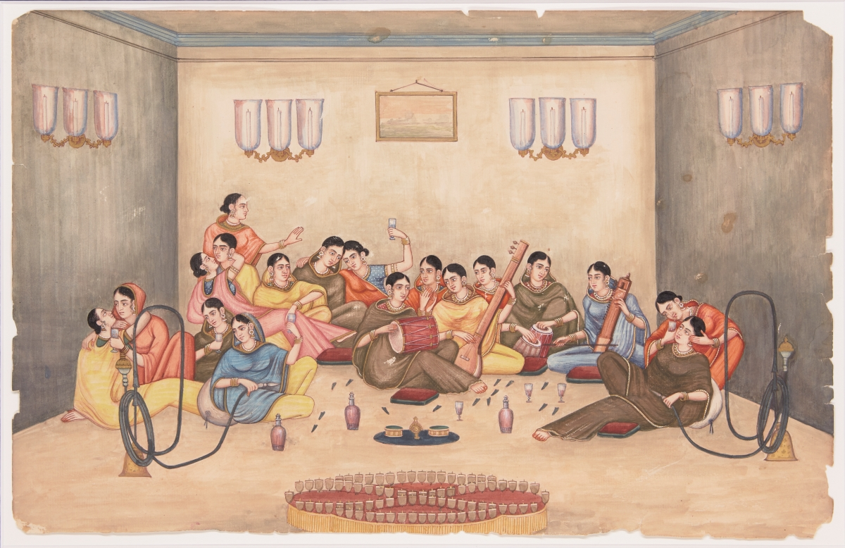 A company school painting of women smoking hashish in a harem, Patna, India, circa 1850, opaque watercolour on watermarked paper, 27.4 x 43cm