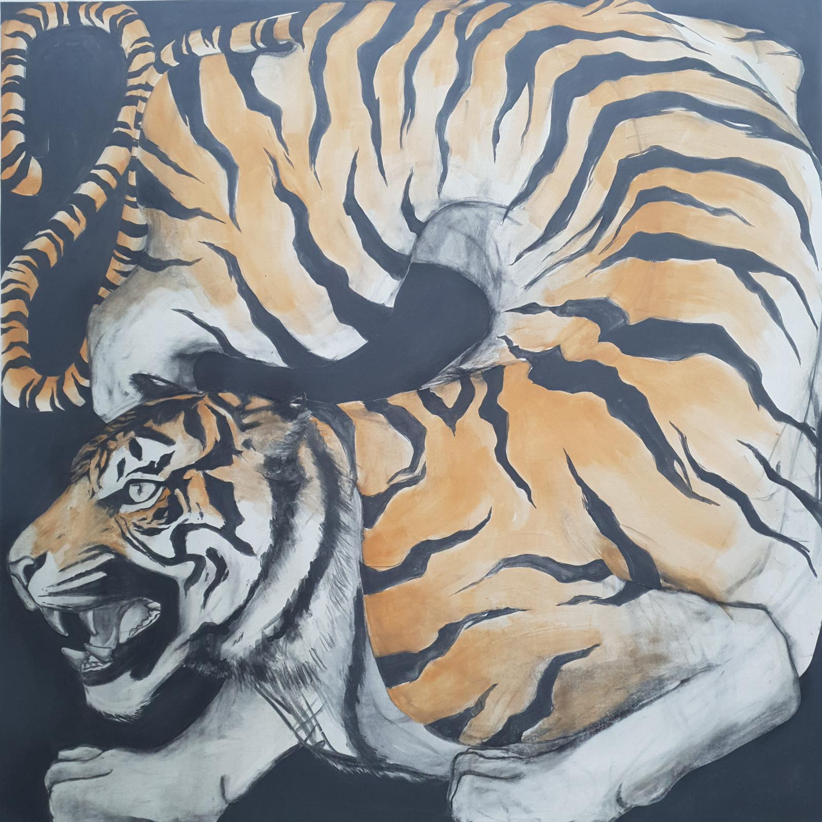 Zimbiri (b. 1991) Boxed 5, 2020 Saa-tshen on Rhay-shing (Earth paint on canvas) Signed 147 x 147 cm 58 x 58 in