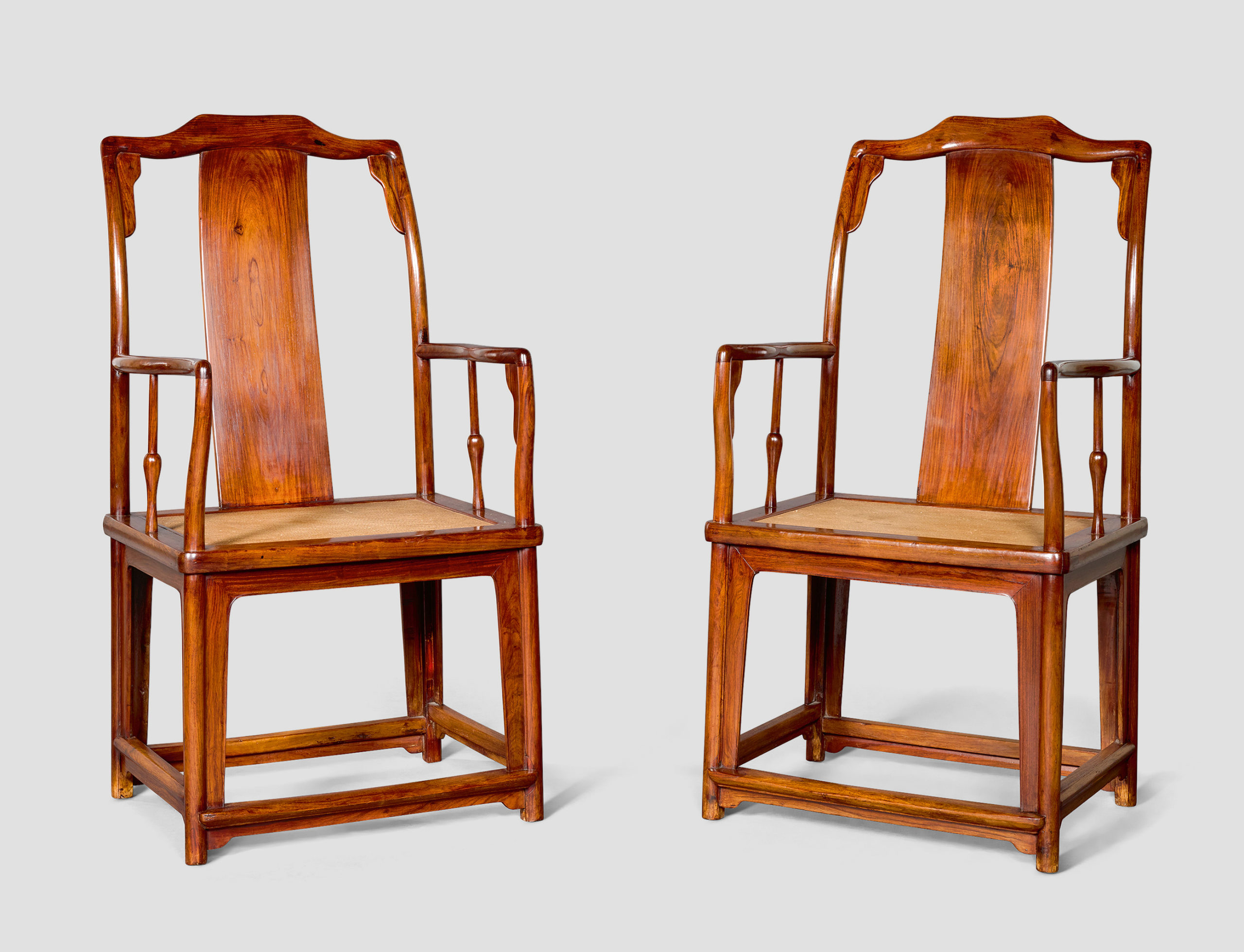 A PAIR OF LARGE HUANGHUALI CONTINUOUS YOKEBACK ARMCHAIRS, NANGUANMAOYI, LATE MING DYNASTY, 120 by 62 by 48 cm