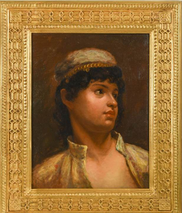 """ENGLISH SCHOOL Portrait of a Parsee Boy, 1884 Oil on canvas Signed and dated """"J Maggs / 1884"""" lower left 38 x 29 cm 15 x 11 3/8 in PROVENANCE With Indar Pasrichar Fine Arts; Private UK collection"""