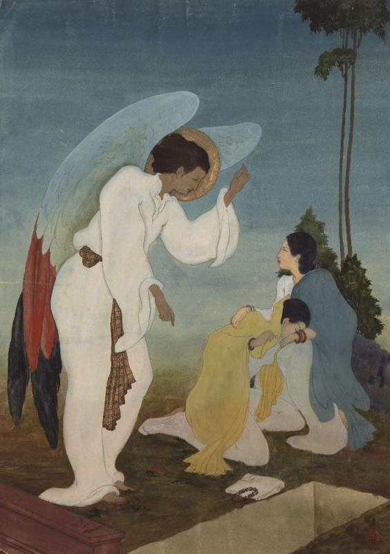 BENGAL SCHOOL Angel with two grieving figures, 1932 ink and gouache on paper, signed with monogram and dated 1932 lower right, bears inscription on the reverse 40.2 x 28.6 cm 15 7/8 x 11 1/4 in