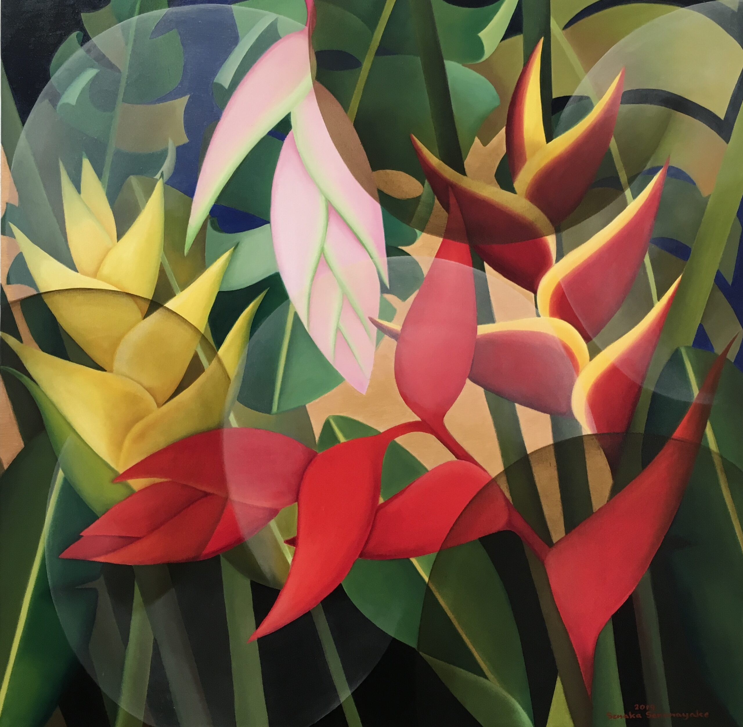 SENAKA SENANAYAKE (b. 1951) Heliconias, 2019 Oil on canvas Signed and dated 122 x 122 cm 48 1/8 x 48 1/8 in