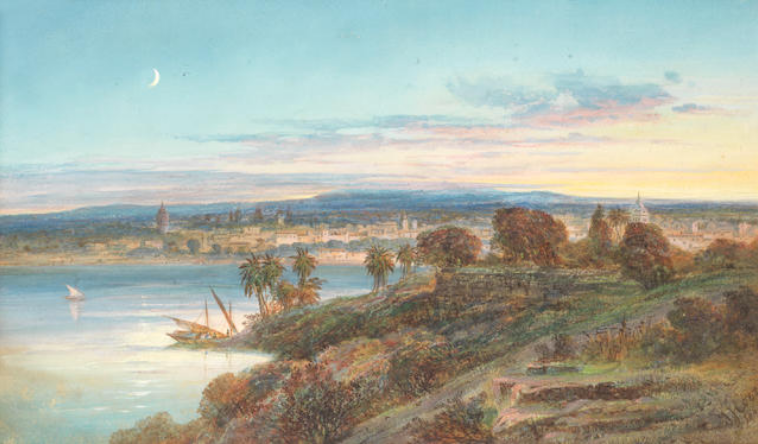 EUROPEAN SCHOOL View of Bombay, 1865 Watercolour on paper, signed indistinctly lower right J. F. Coz[...] and dated 1865, inscribed on reverse and on backboard View in India/Bombay 20 x 40.5 cm 7 7/8 x 16 in