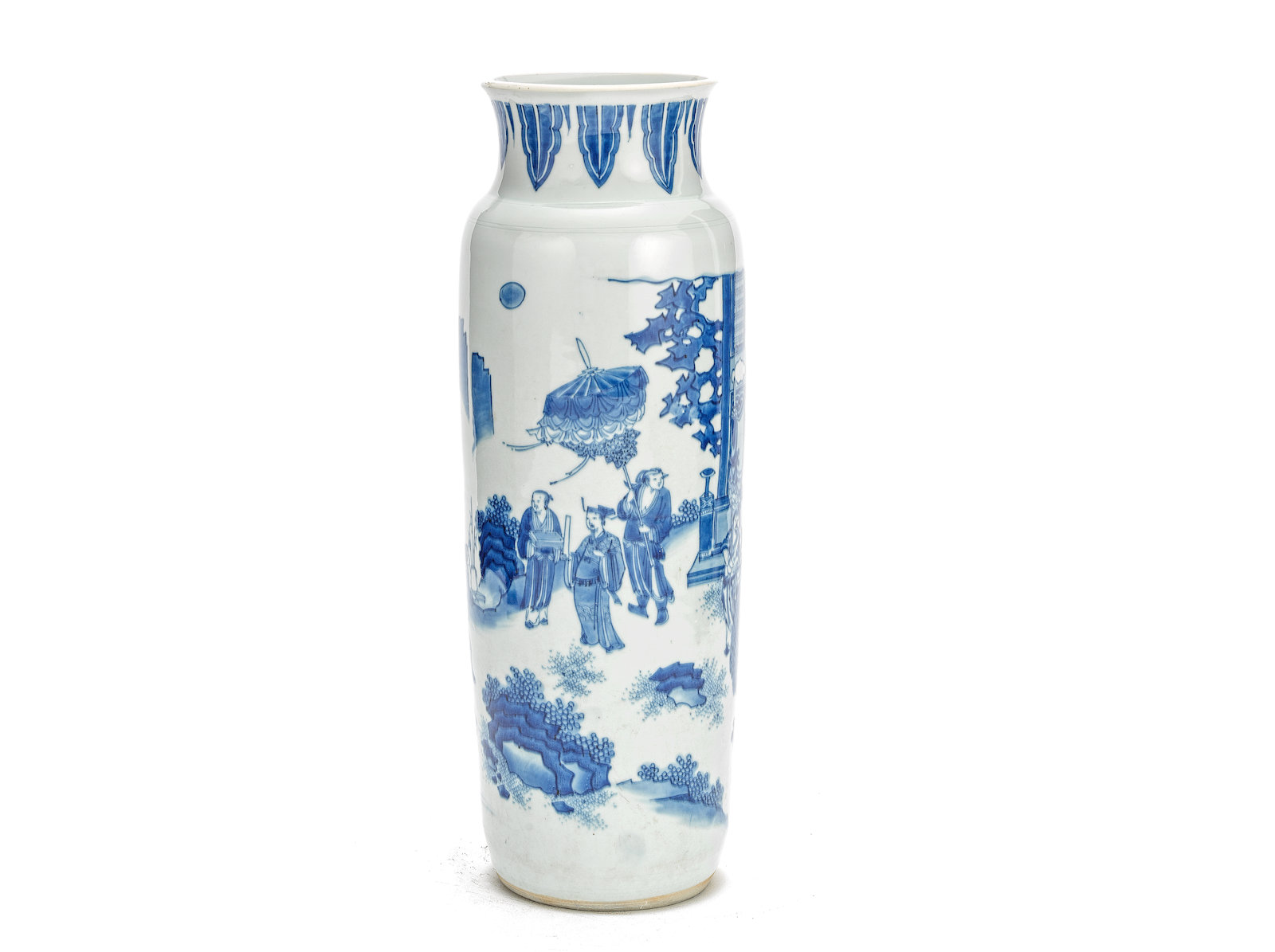 A blue and white sleeve vase, Chongzhen Painted with a gathering of gentlemen and attendants on a pavilion terrace. 47cm (18.1/2in) high. Estimate: £8,000-12,000