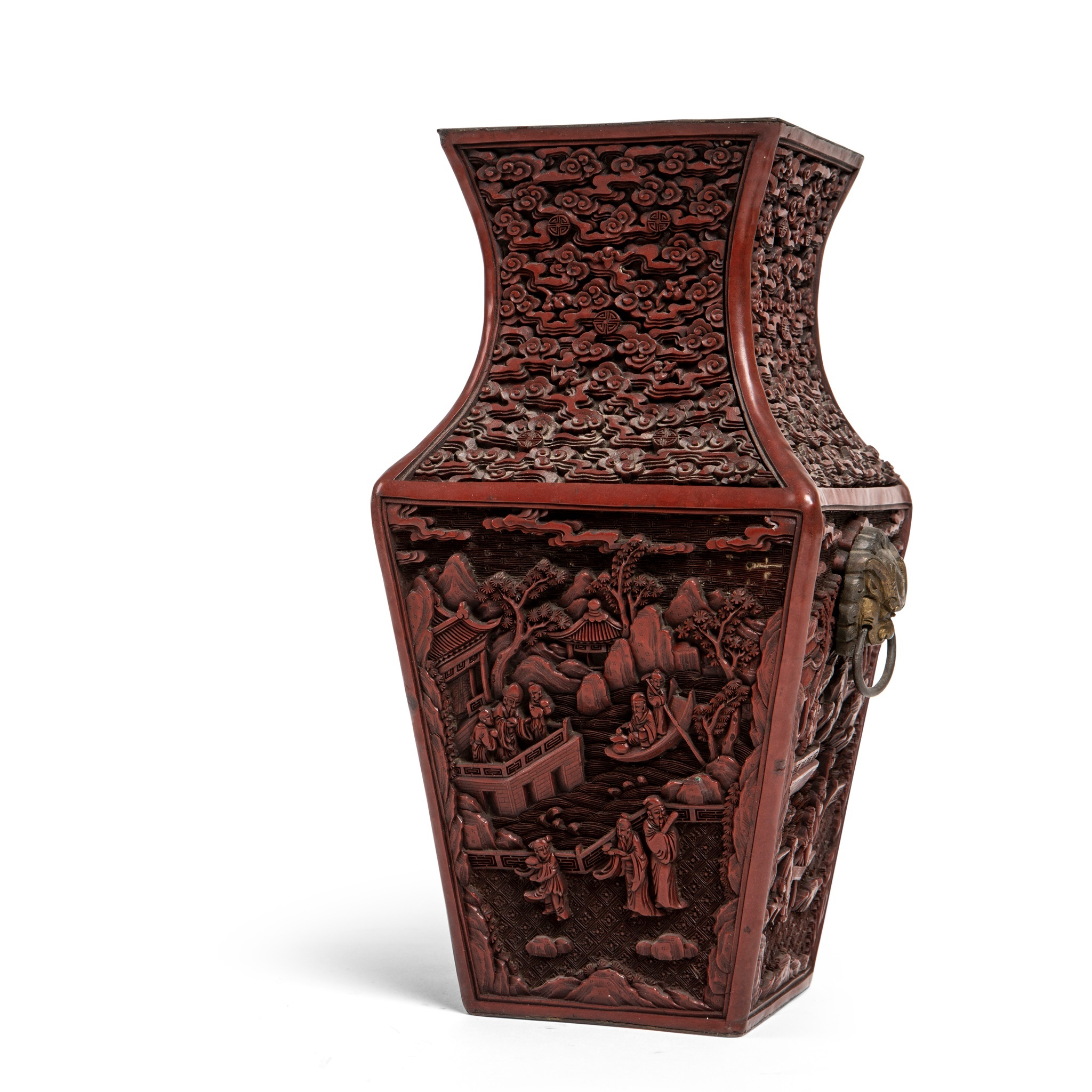 CINNABAR LACQUER SQUARE-SECTIONED VASE | QING DYNASTY, 19TH CENTURY, Provenance: Private Scottish collection, Glasgow, c. 1900, thence by descent, 26.2cm high