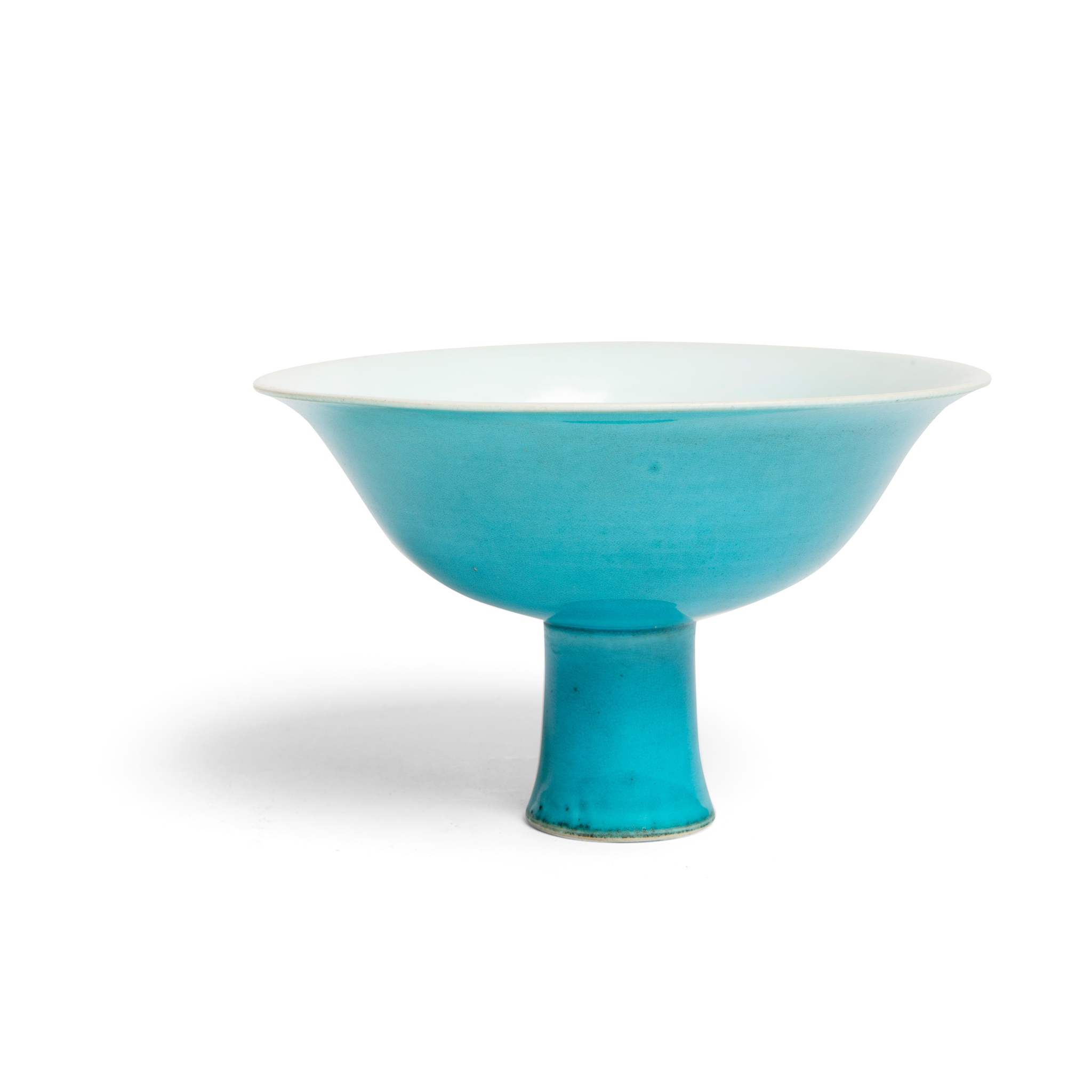 TURQUOISE-GLAZED 'DRAGON' STEM BOWL | YONGLE MARK BUT POSSIBLY QIANLONG PERIOD, Provenance: property of a gentleman; formerly in a private German collection, acquired from an antique shop in Munich between 1965 and 1980, 10cm high, 15.8cm diameter