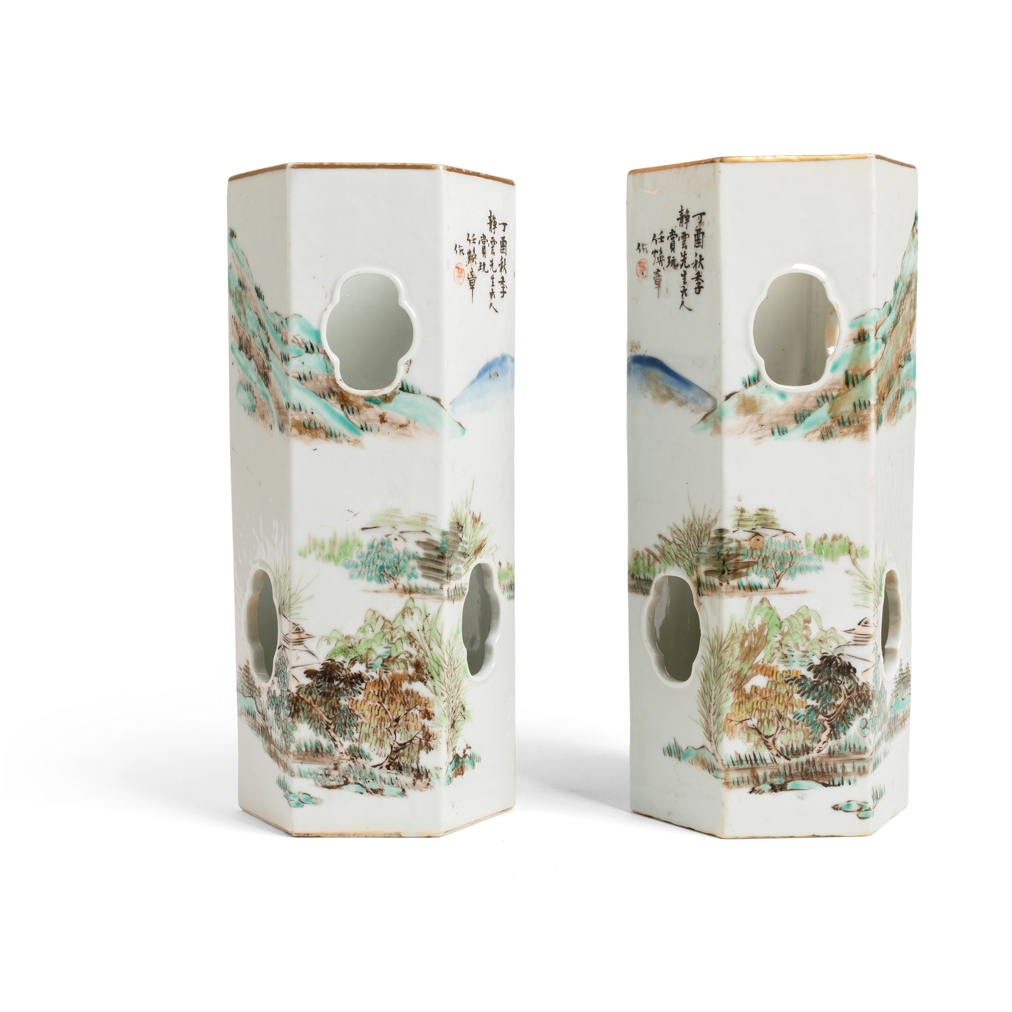 PAIR OF QIANJIANG ENAMELLED HEXAGONAL HAT STANDS | QING DYANSTY, 19TH CENTURY, Note: Ren Huanzhang, actived in 1874-1902, an imperial painter in the late Qing court, famous for his shanshui landscape and sage-like figures, pioneered in the literati faction of painted porcelain, Provenance: Private Paris collection, 27.8cm high each