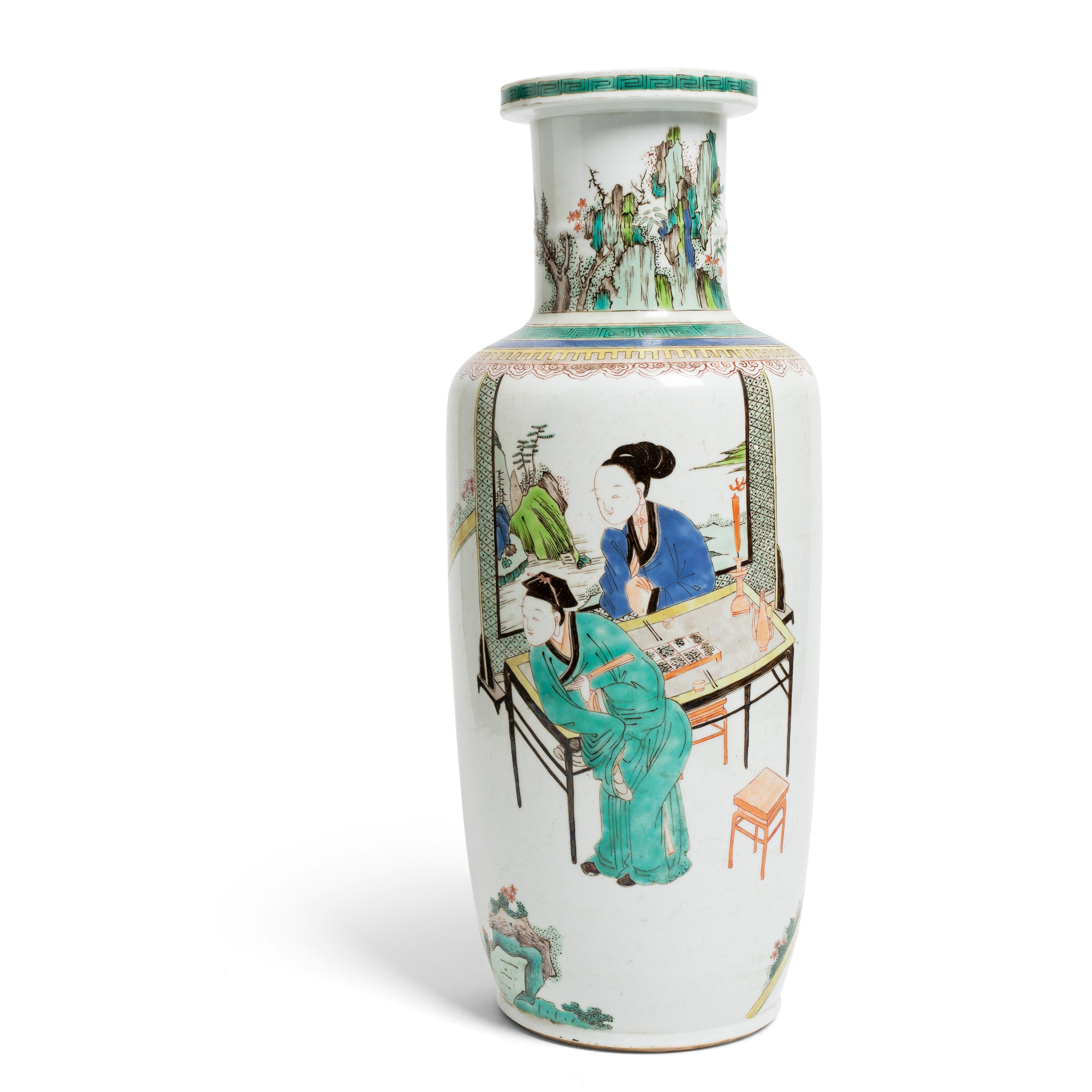 WUCAI 'SCHOLAR AT LEISURE' ROULEAU VASE | LATE MING TO EARLY QING DYNASTY, 17TH-18TH CENTURY, Provenance: private Swedish collection, 48.5cm high
