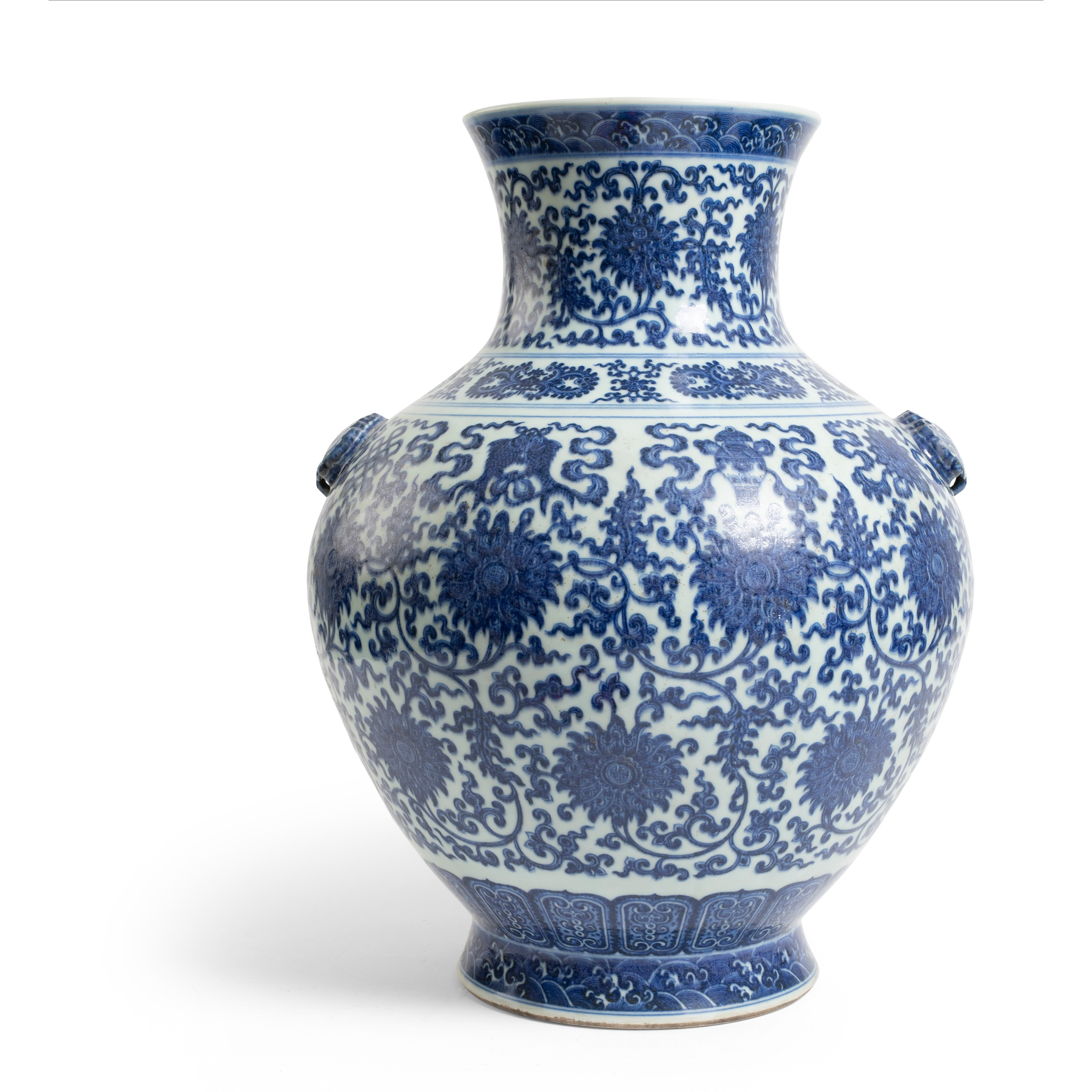 LARGE BLUE AND WHITE 'LOTUS' VASE | QIANLONG MARK, 18TH CENTURY, Provenance: Private English collection, 50cm high