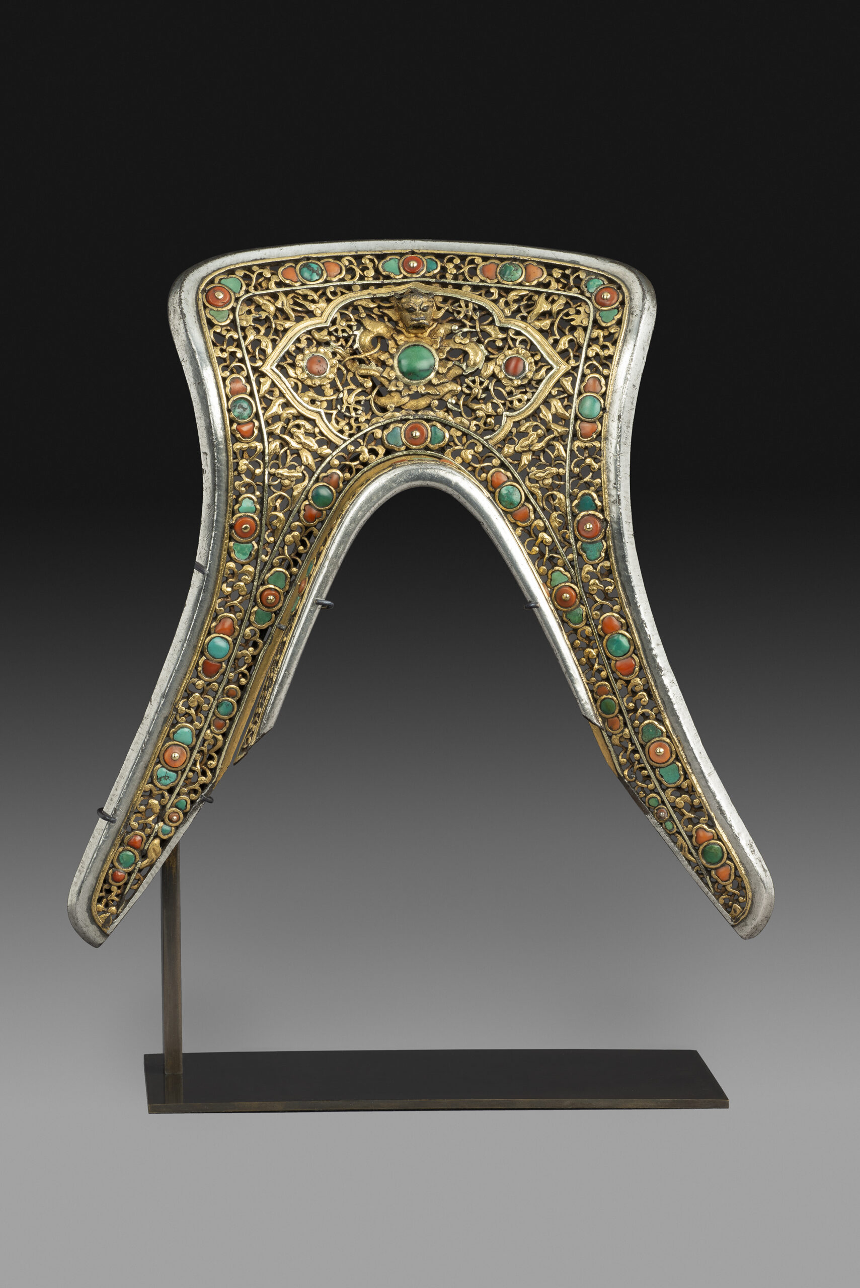A Saddle Plate 16th or 17th century China. Iron, gold, malachite, coral. 24.8 cm / 9.8 in x 24.8 cm / 9.8 in