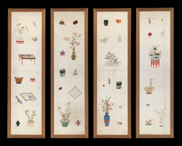 Four embroidered silk panels, Chinese, 17th century, Measurements of each panel: 194 x 56.5 cms