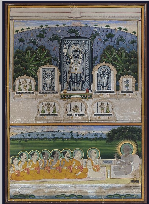 Nidhi-svarups and Vallabhacharya with His Seven Sons Nathdwara, Rajasthan, 19th century Opaque watercolour and gold on paper Height: 30 cm (11 7/8 in) Width: 22.5 cm (8 7/8 in)