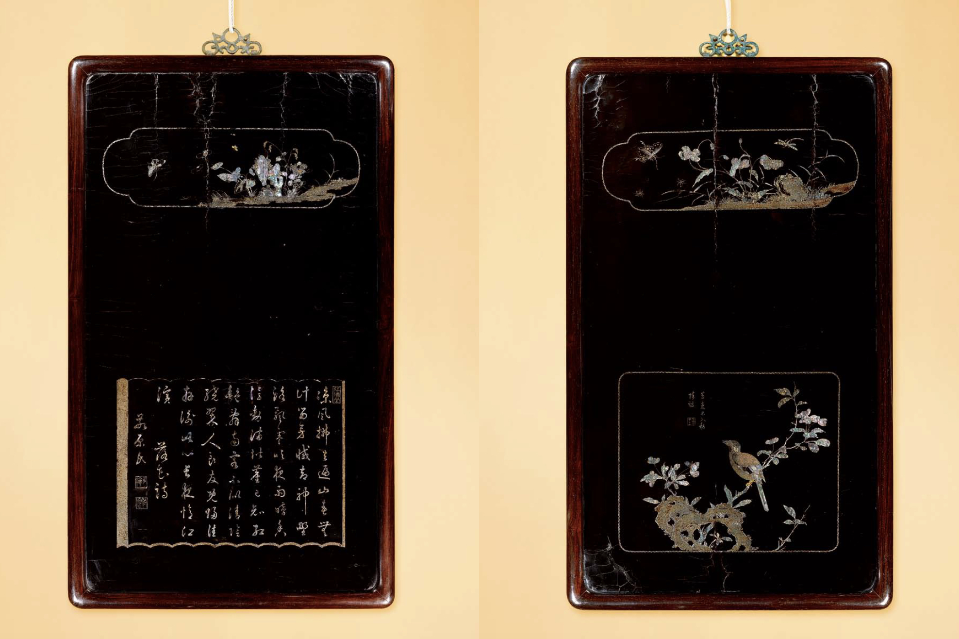 Dimensions: each 80cm high x 47cm wide  Provenance: - A private Hong Kong collection  Published: 'The Luxury of Chinese Lacquer', Littleton & Hennessy Asian Art (March 2010)  The panels are of rectangular shape, each finely inlaid in mother-of-pearl and gold. Each are decorated variously with panels containing butterflies, birders, deer or poetic inscriptions.  Compare a set of five panels in the 'Hebei Provincial Cultural Bureau' also by Jiang Qianli. The use of gold and silver inlays alongside mother-of-peark in the Hebei panels is reminiscent of those on the current panels, as well as the style of inlay work. Furthermore, one of the current panels bears the name if Duo Lun (year unknown), an official of the Kangxi reign. His daughter married one of Kangxi's grandsons, Prince Yinzhi, and he went on to become the Right Vice Minister of The Board of Rites in 1756.
