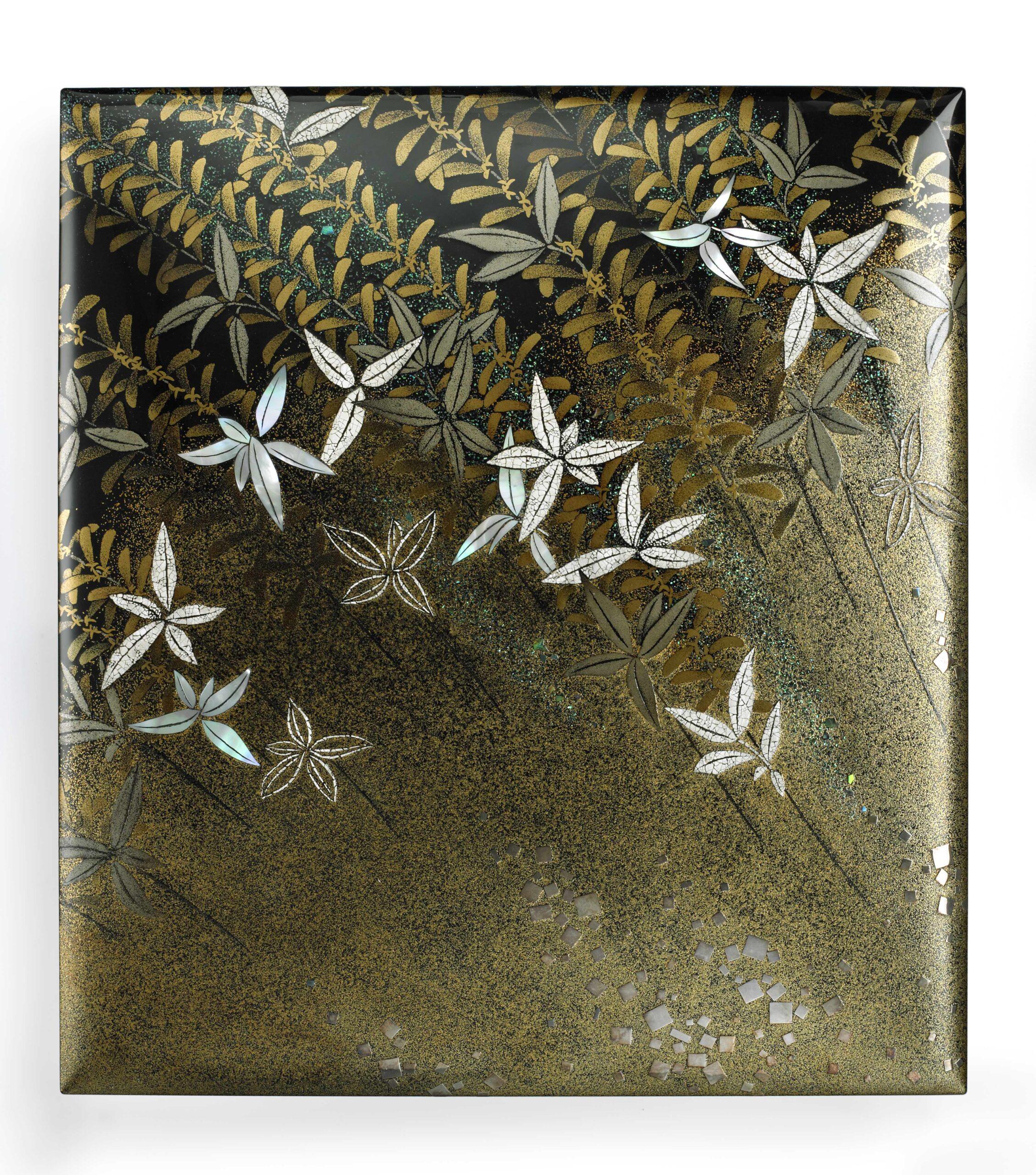 EARLY SPRING WILLOW soshun no yanagi by KATAYAMA Masahiko (b. 1957)   Heisei period, 1980s Lacquer – makie, with shell and metal inlays