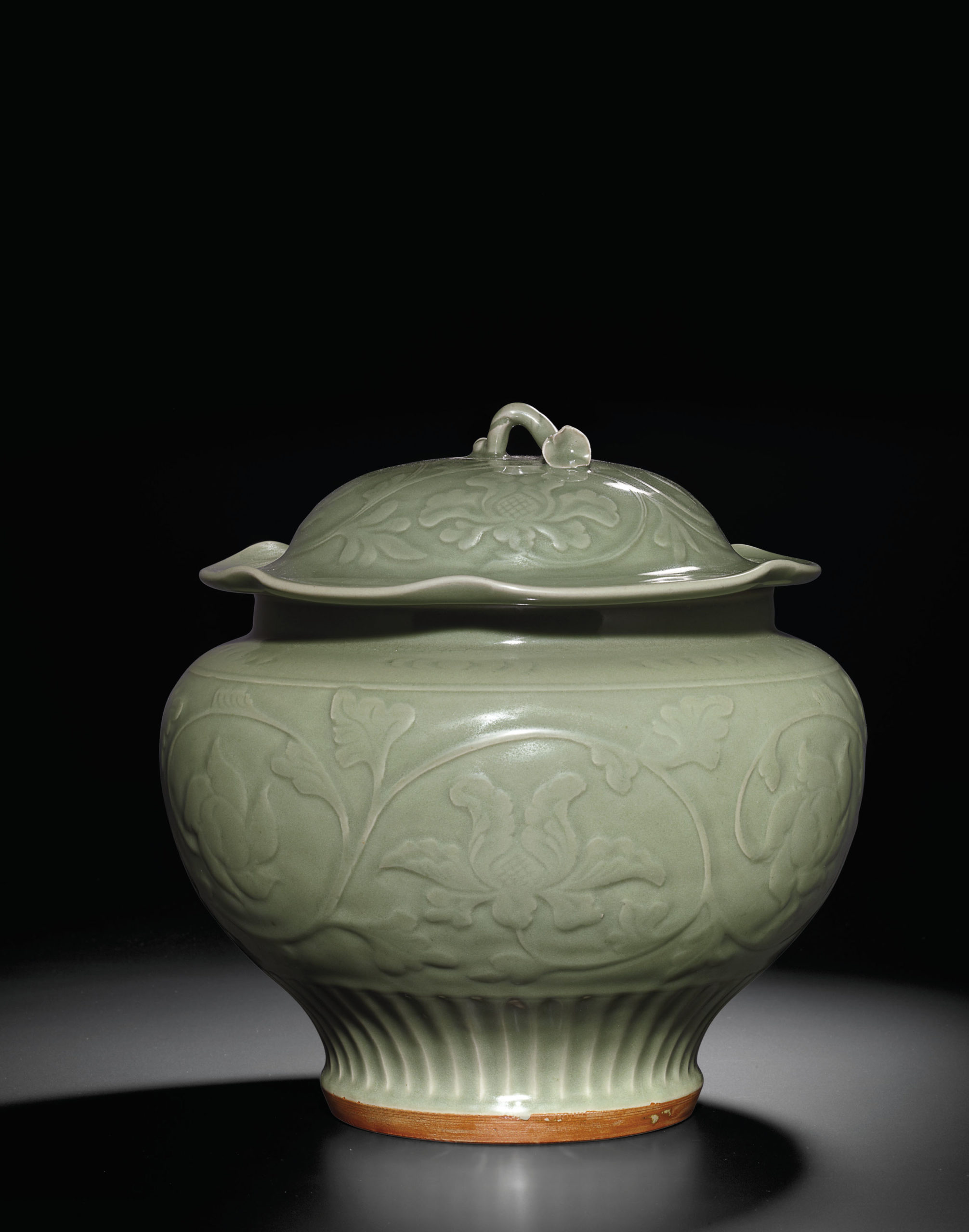 A carved Longquan celadon jar and cover, Yuan/early Ming dynasty, Dimensions: 35.3cm high