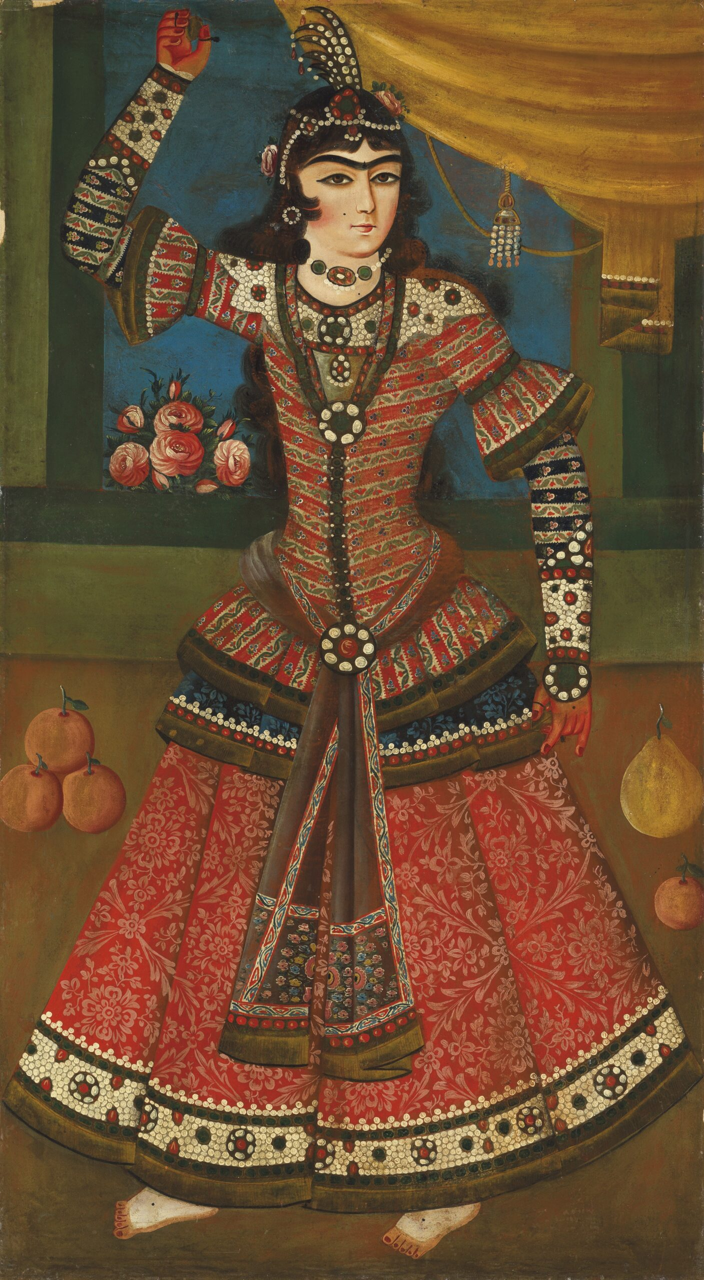 CHRISTIE'S A Qajar dancing girl, Iran Circa 1840 60.1/4 x 33in. (152.5 x 84cm.)