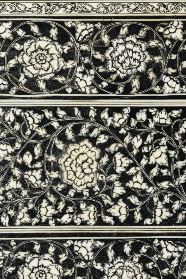 AN ANGLO-INDIAN IVORY-INLAID EBONY TOILET GLASS