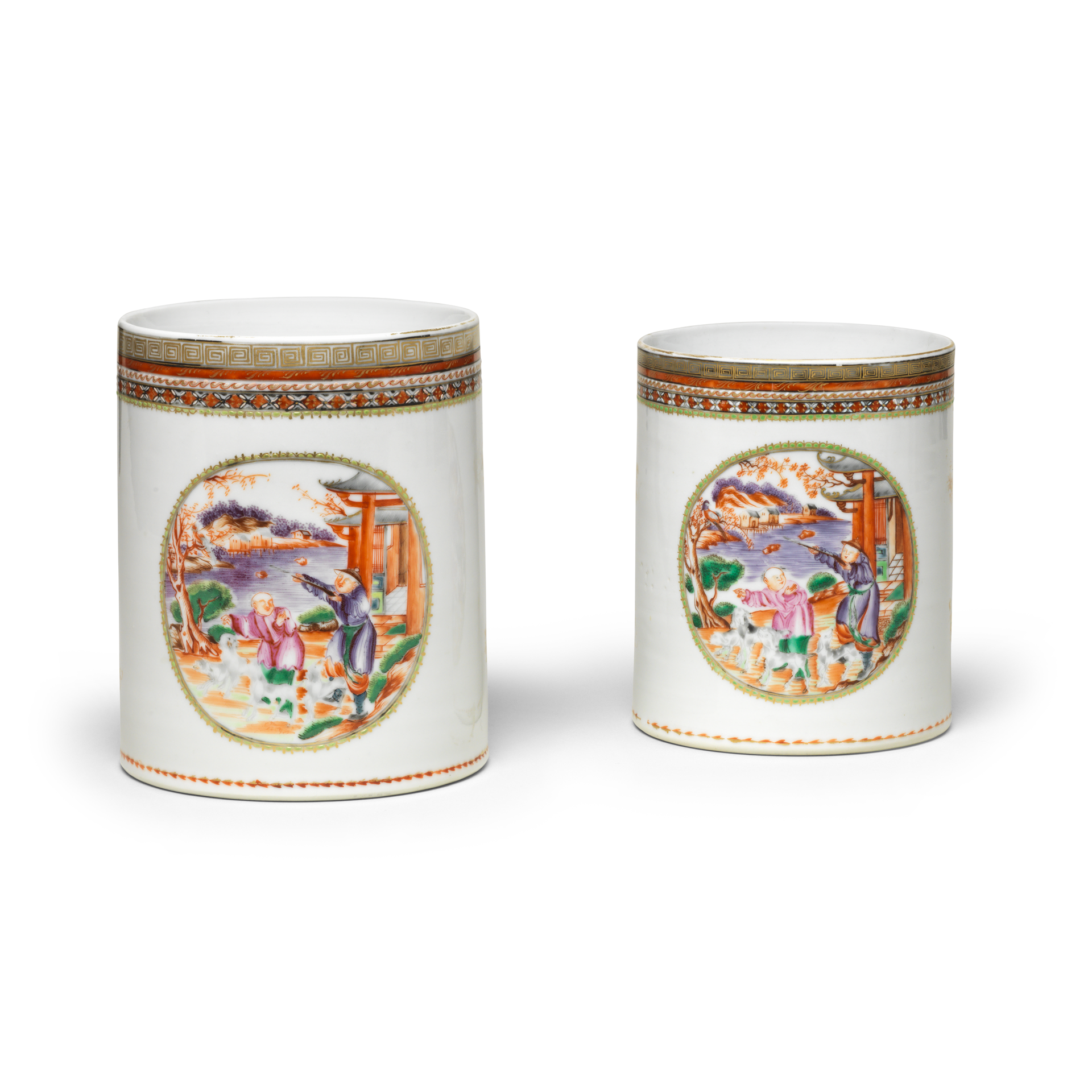 Pair of 'Hunting Scene' Mugs, Porcelain decorated in overglaze famille rose enamels and gold, Qianlong period (1736-1795)