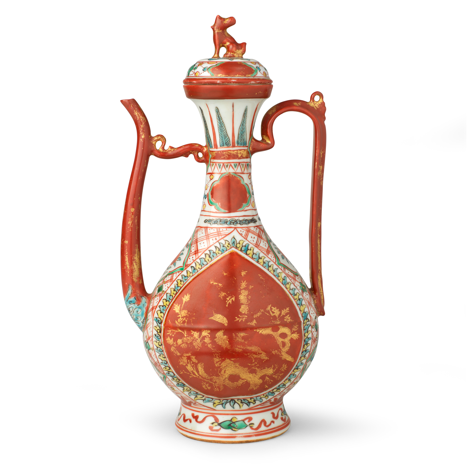 Ewer and Cover, Porcelain decorated in overglaze enamels and gold, 16th century