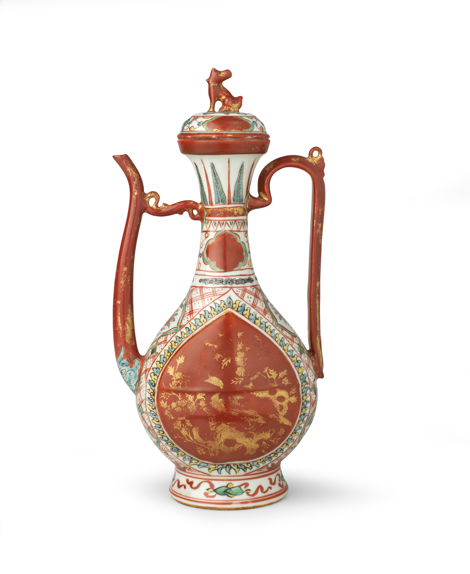 Porcelain decorated in overglaze iron-red, black, turquoise, green and yellow enamels and gold China — Ming dynasty (1368–1644), 16th century H. 29 L. 14.5 cm