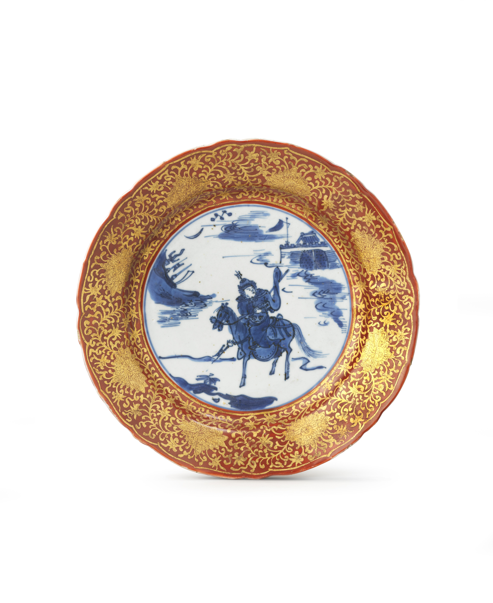 Porcelain decorated in underglaze cobalt blue, overglaze iron-red, and gold China — Ming dynasty (1368–1644), second half of the 16th century Ø 21 cm