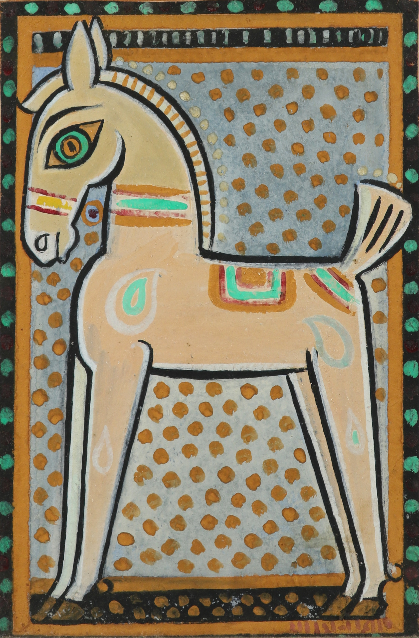 JAMINI ROY (1887 - 1972) Horse, c.1940 Tempera on card Signed lower right, the backboard inscribed by Maurice Draper 'Jamini Roy/ Calcutta/ 1940' 39.4 x 29.6 cm 15 1/2 x 11 5/8 in PROVENANCE Given by the artist to Maurice Draper (1907-2012), Calcutta, 1940 (by repute in exchange for one of his paintings); Thence by descent; Grosvenor Gallery, London Maurice Draper lived and worked in India from 1930-1945. Employed as an art teacher at La Martiniere school in Calcutta he travelled widely, making sketches and watercolours of the country. A contemporary review of an exhibition of Draper's work mentions the influence of Jamini Roy, and it seems the two artists met and exchanged works in 1940. Following spells in Lucknow and Darjeeling, Draper and his family returned to the UK in 1945.