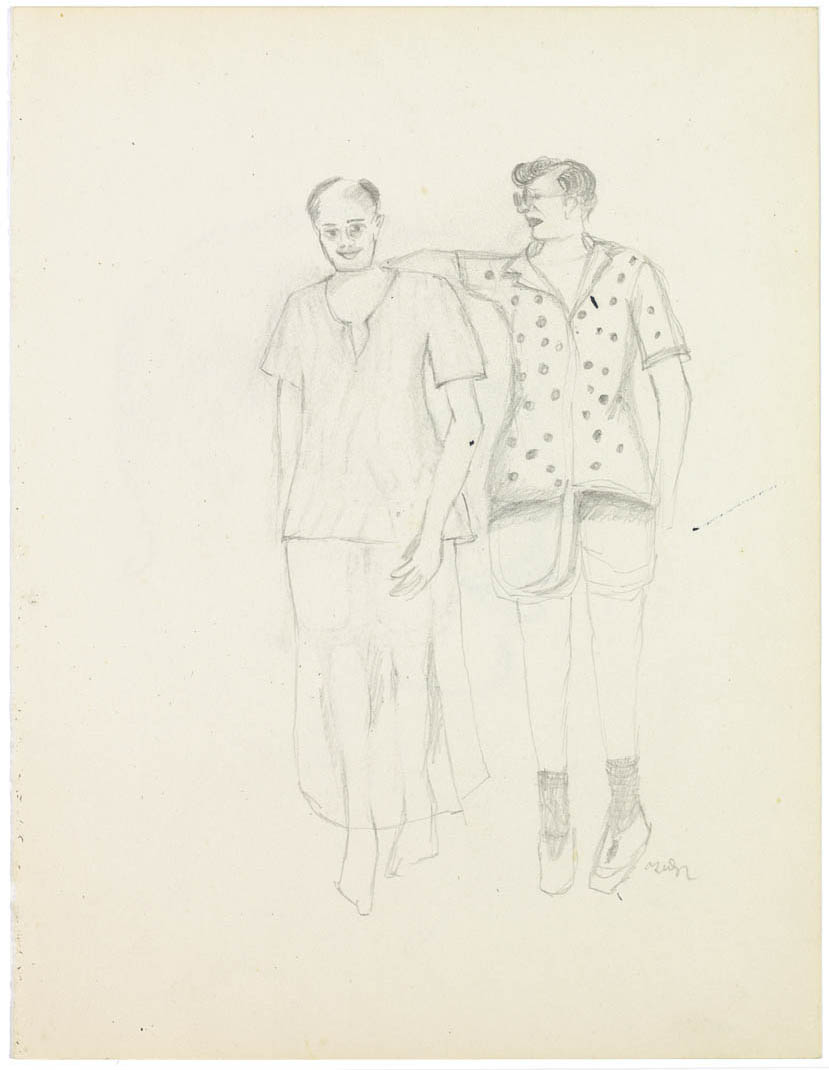 BHUPEN KHAKHAR (1934-2003) Friends Pencil on paper Signed lower right, verso with drawing 'Head of a Man' height 26.9 cm cm height 10 5/8 in