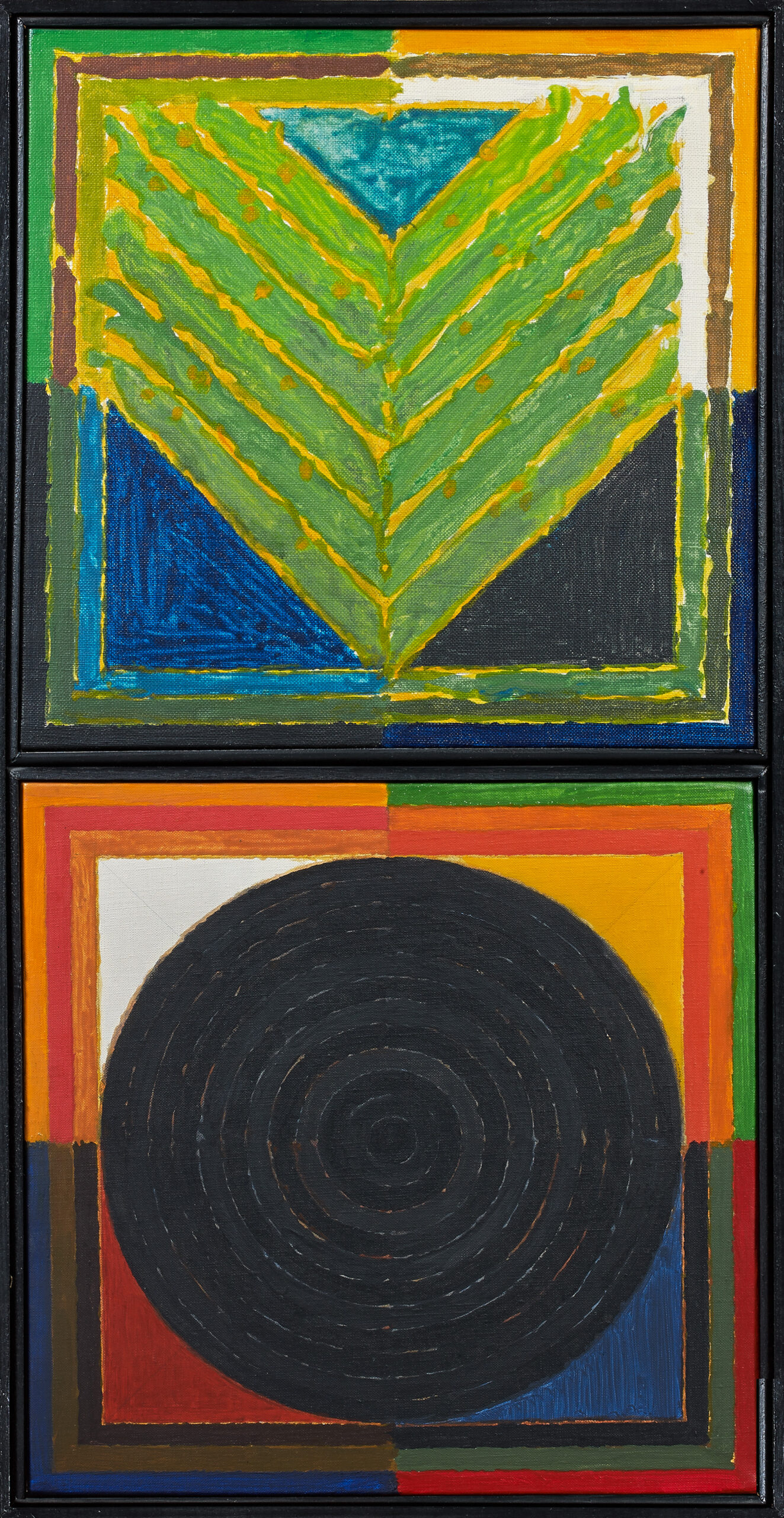 SAYED HAIDER RAZA (1922-2016) Bindu/Germination, 1986 Acrylic on canvas, diptych Each panel signed, dated, titled and inscribed with the size on the reverse 60 x 30 cm 23 5/8 x 11 3/4 in PROVENANCE Private Collection, Paris Grosvenor Gallery, London EXHIBITIONS RAZA/TANTRA, Frieze Masters (exhibition catalogue), London, 2019, p.2