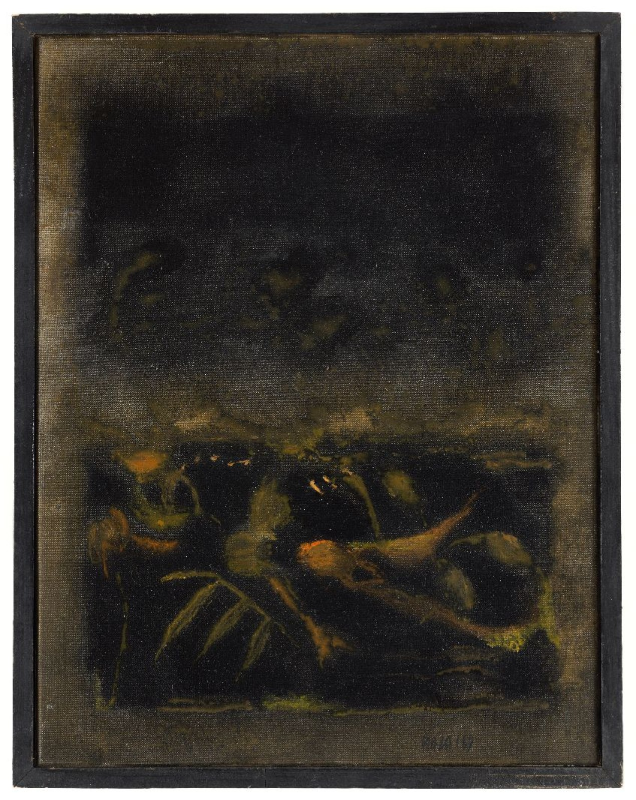 SAYED HAIDER RAZA (1922-2016) Ferveur Noire, 1969 Acrylic on canvas Signed and dated 'RAZA '69' lower right, the reverse signed, dated, titled and inscribed '5F'/ 'P.794'69' 35 x 27 cm 13 3/4 x 10 5/8 in PROVENANCE Private French collection; Grosvenor Gallery, London PUBLICATIONS Macklin, Anne, SH Raza, Catalogue Raisonne, vol 1 (1958-1971), New Delhi, 2016, p.177
