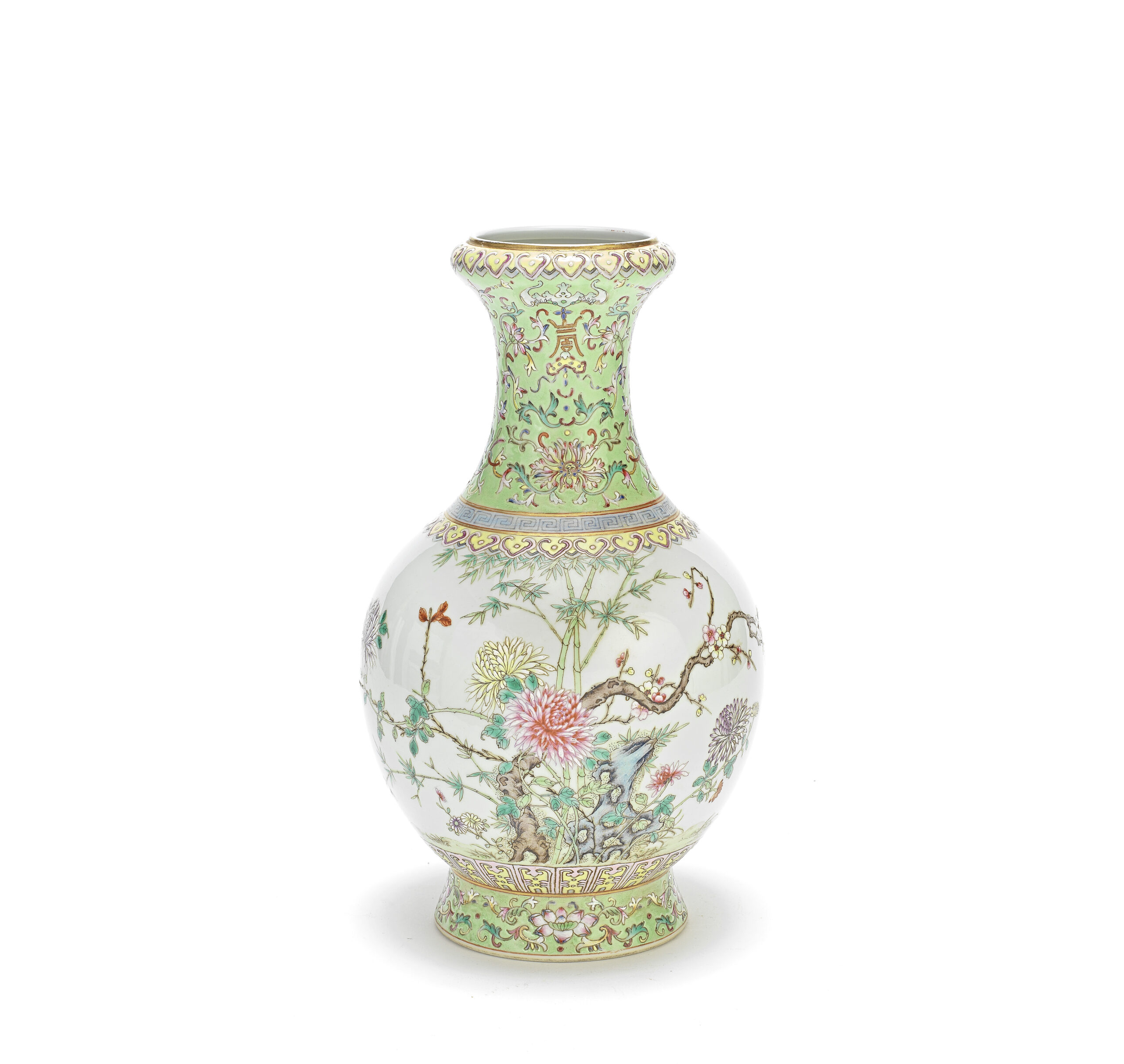 A FAMILLE ROSE BALUSTER VASE, Qianlong seal mark, Republic Period, 29cm (11 3/8in) high
