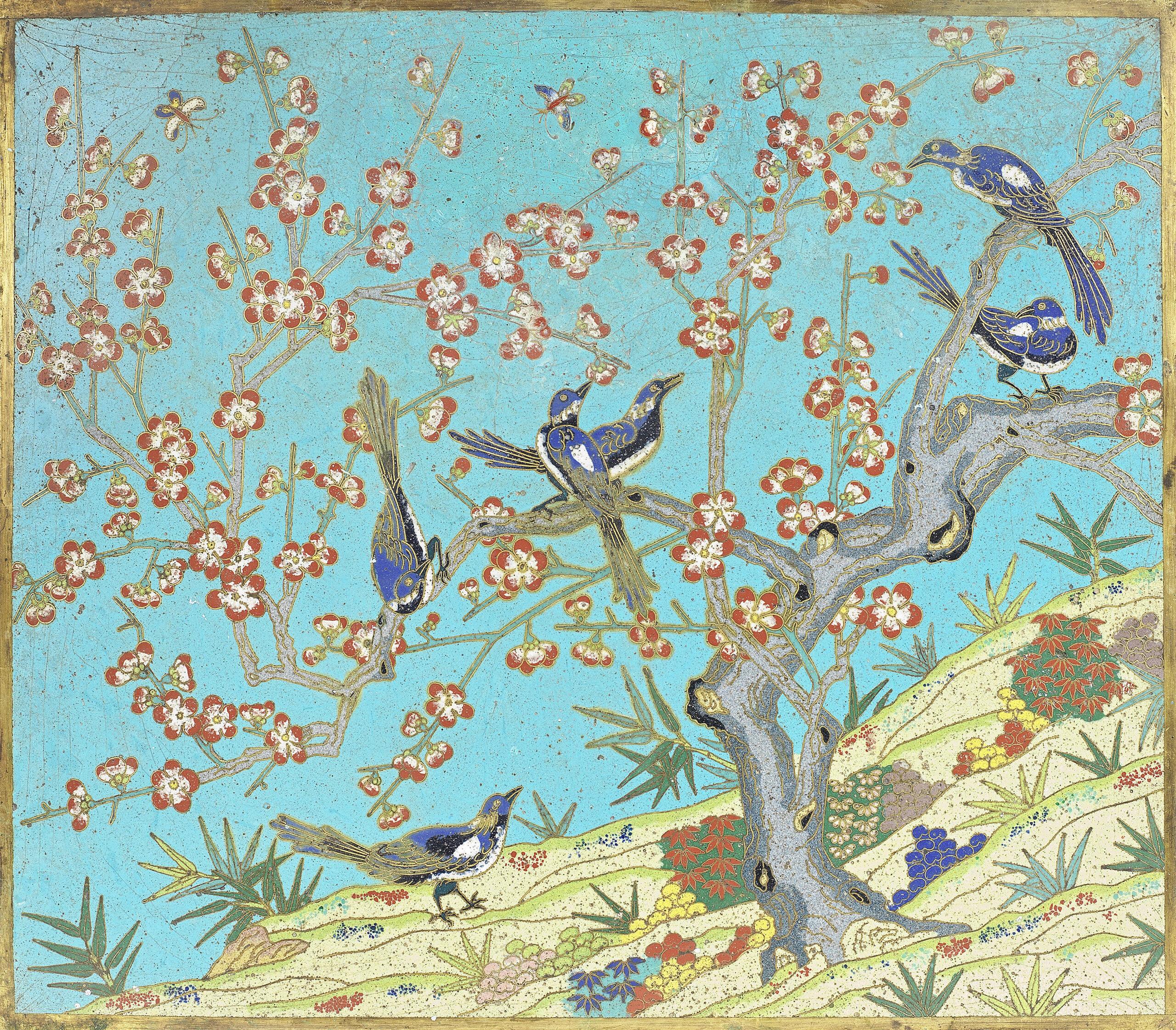 A FINE CLOISONNÉ ENAMEL 'MAGPIES AND PRUNUS' RECTANGULAR PLAQUE, Qianlong-Jiaqing | 39cm (15 3/8) x 45cm (17 3/4in)