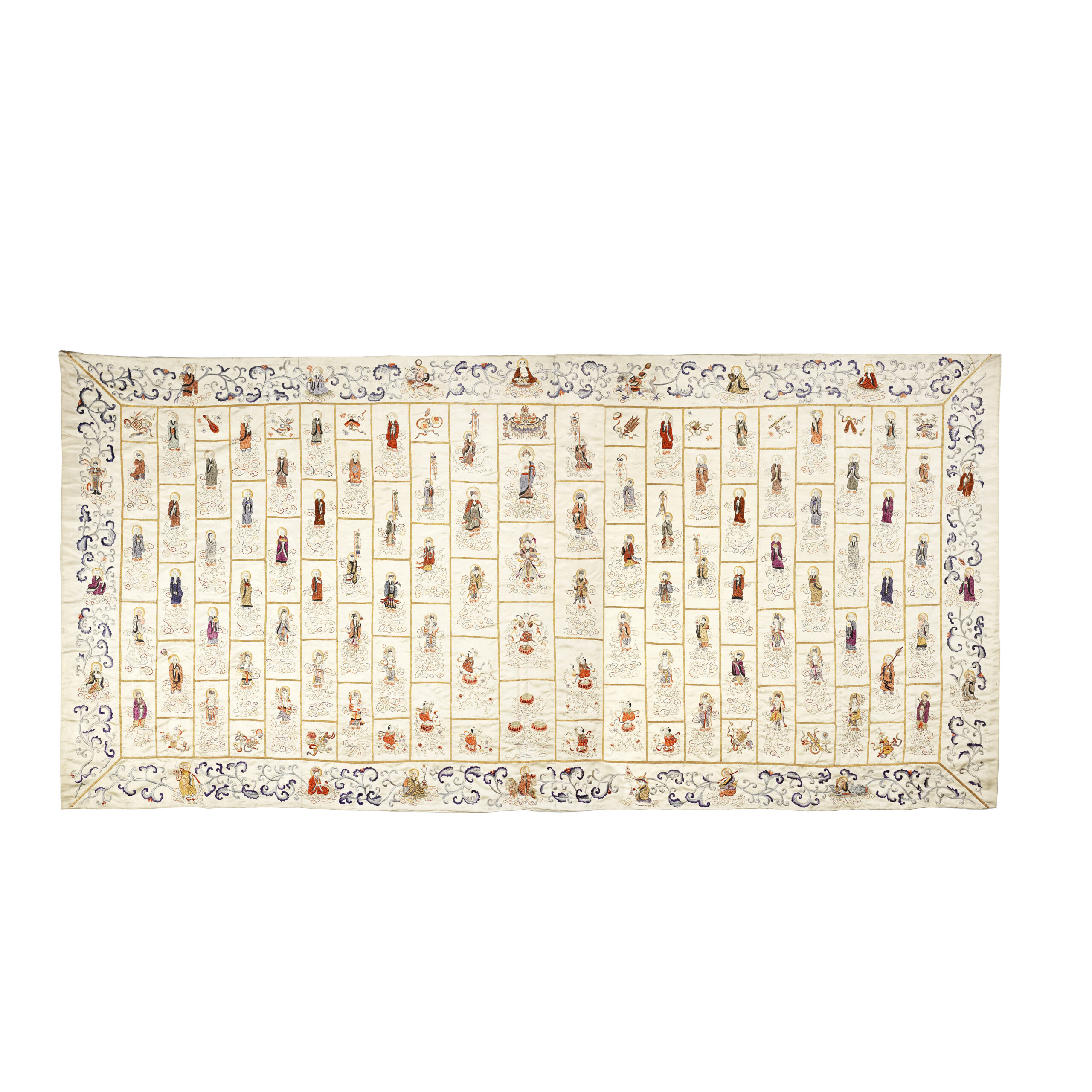 A FINE CORAL AND SEED PEARL-EMBROIDERED IVORY SILK BUDDHIST MONK'S ROBE, JIASHA | 124cm (48 3/4in) x 266cm (104 3/4in)
