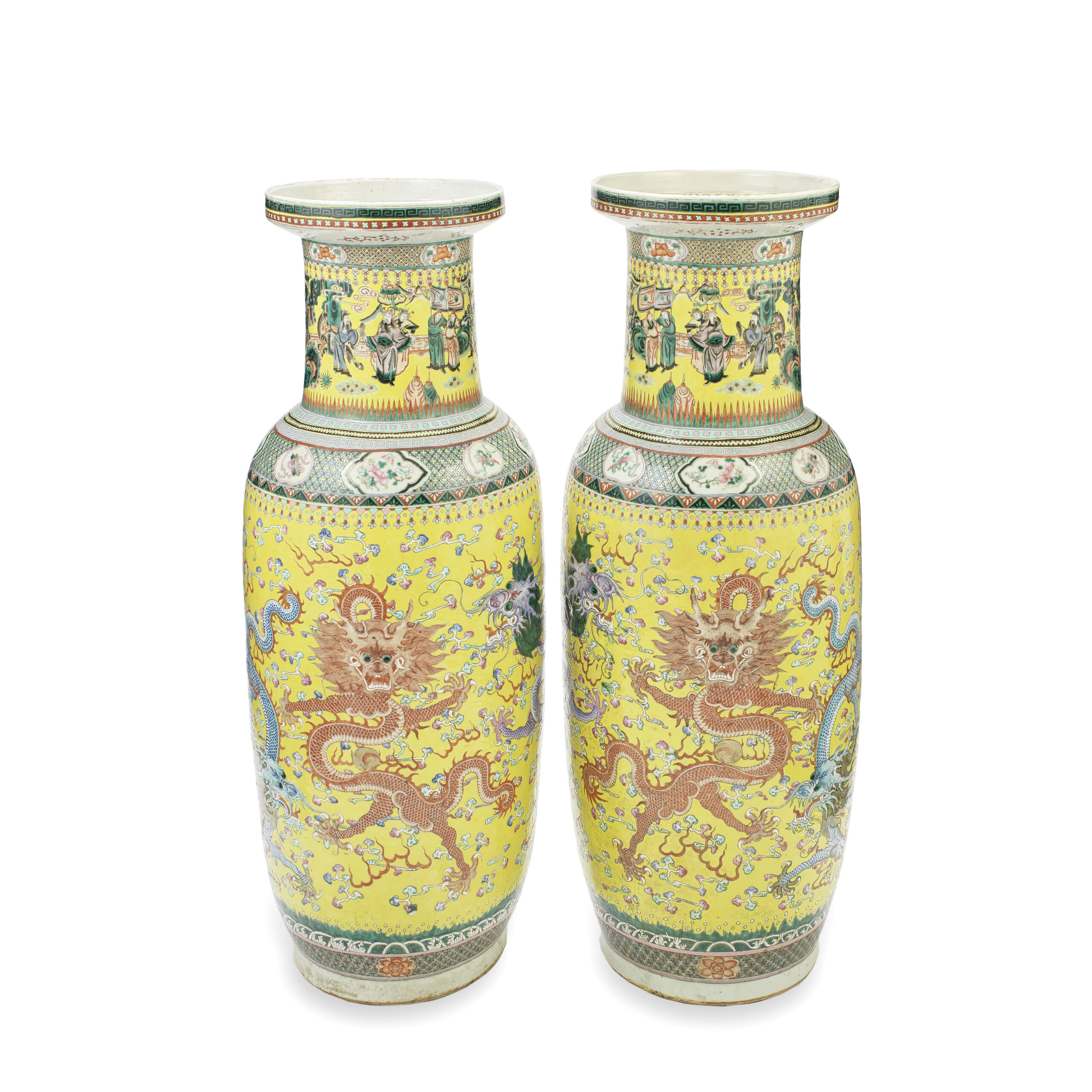 A LARGE PAIR OF FAMILLE ROSE YELLOW-GROUND 'FIVE DRAGON' ROULEAU VASES, 19th century
