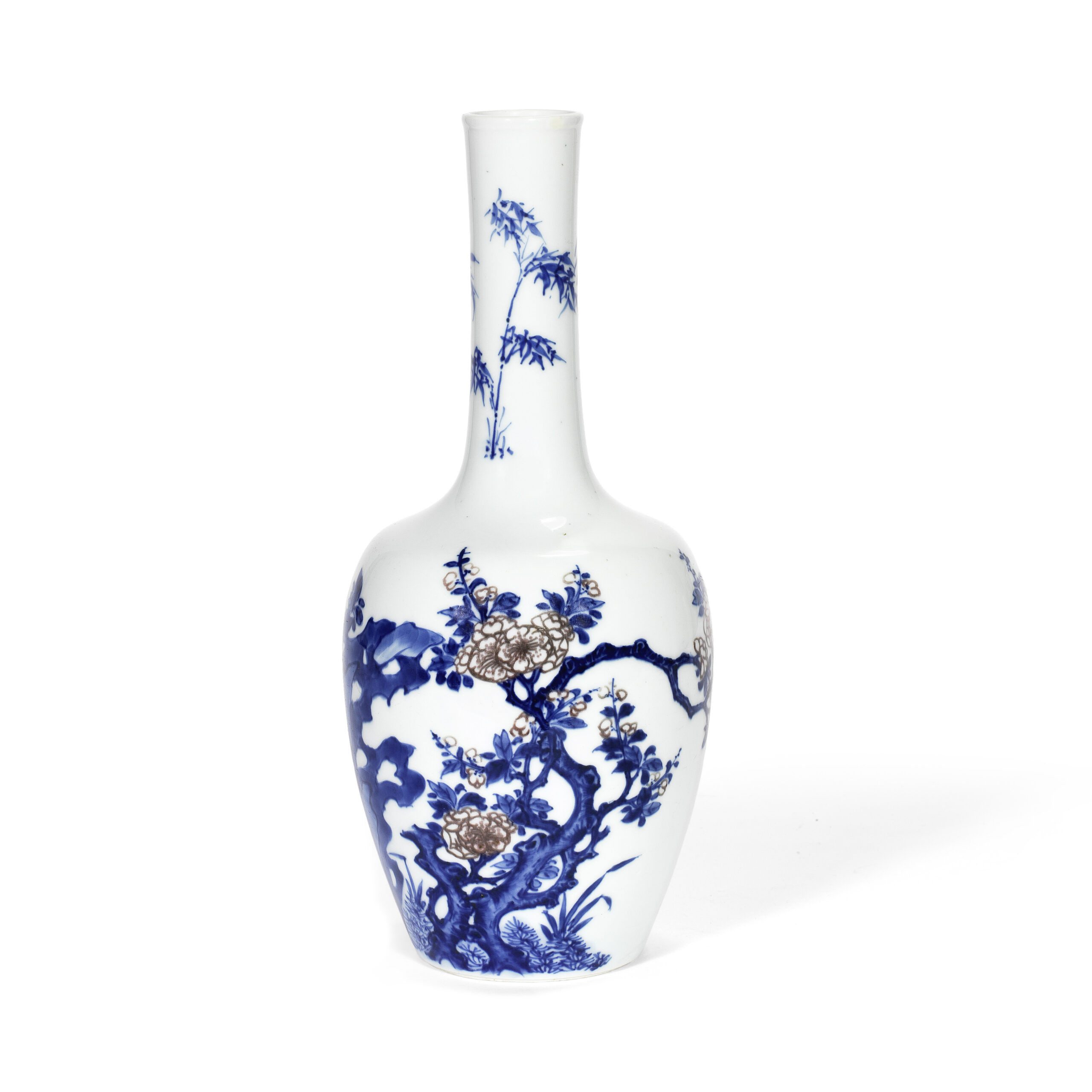 A blue and white and copper red decorated bottle vase, Chenghua six-character mark, Kangxi
