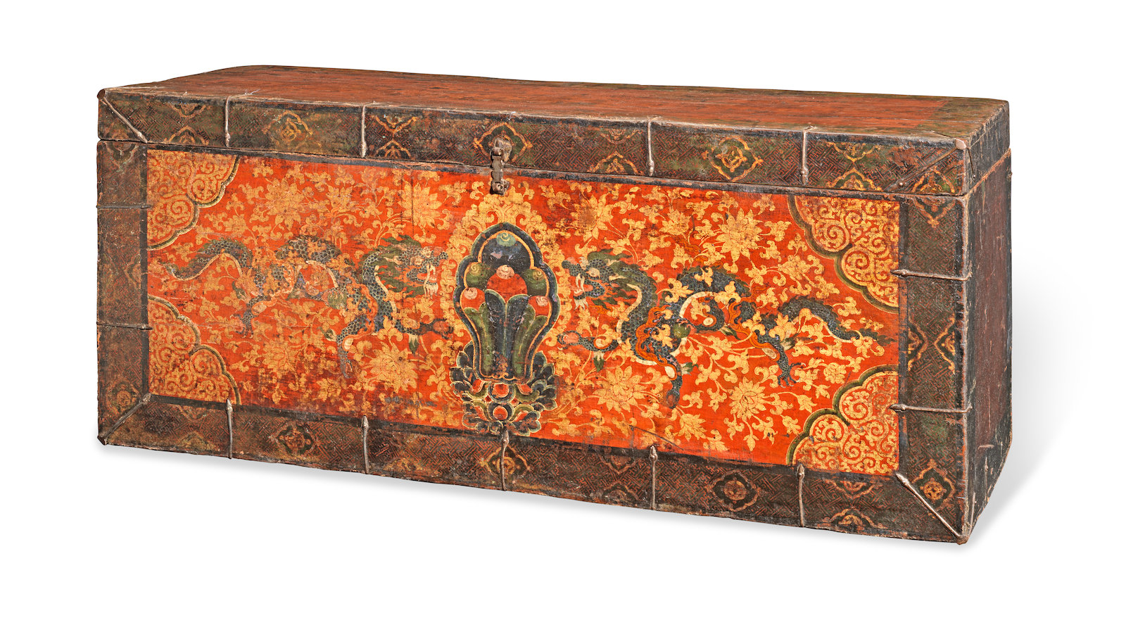 Tibet, 17th/18th century. Estimate: £3,000-5,000. Published: 'Wooden Wonders - Tibetan Furniture In Secular And Religious Life', David Kamansky, p.263, no. 83.