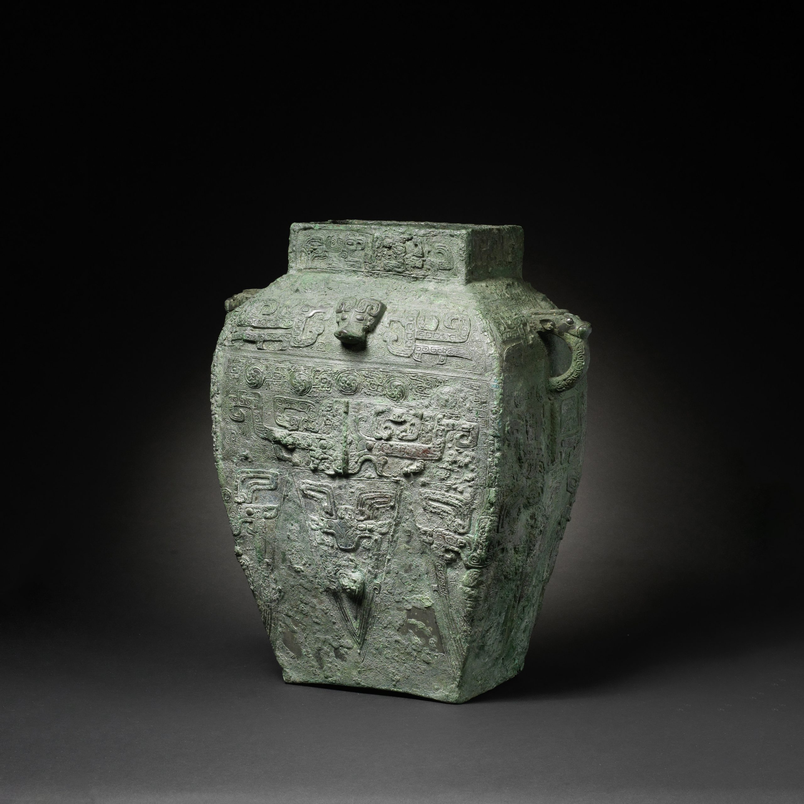 A very rare and large archaic bronze ritual wine vessel, fanglei, Shang Dynasty - Roger Keverne Ltd. Moving On