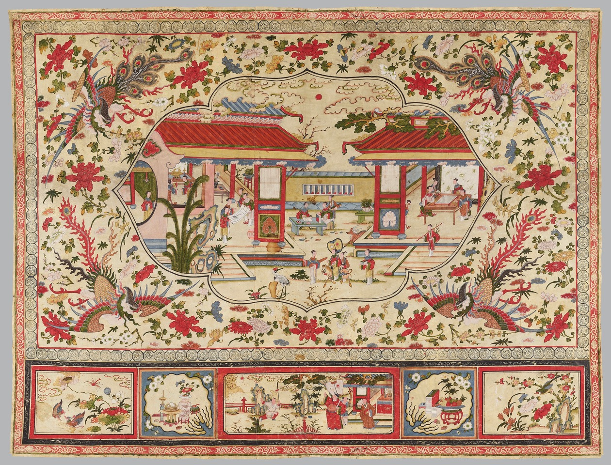 A rare painting on doeskin, the central cartouche with ladies at scholarly pursuits, flanked by four feng huang and a variety of flowers. Chinese, 18th/19th century