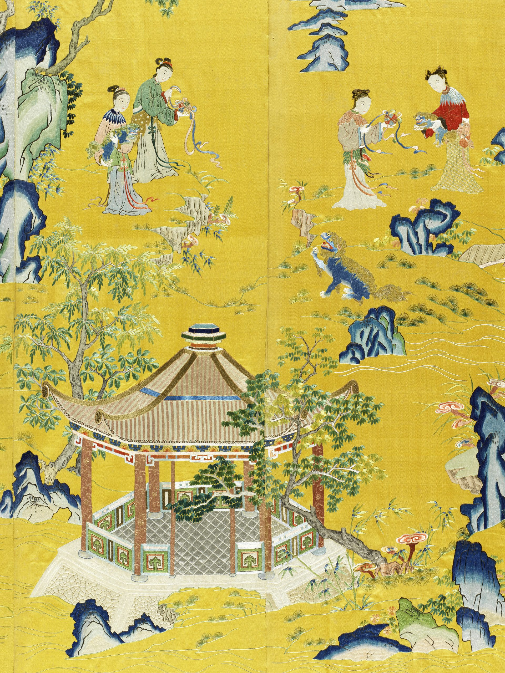 An exceptionally rare Imperial yellow-ground silk embroidered 'ladies and lions' screen panel, Qianlong (detail) - Fine Chinese Art Including Exceptional Textiles Curated by Linda Wrigglesworth