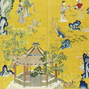 An exceptionally rare Imperial yellow-ground silk embroidered 'ladies and lions' screen, Qianlong (detail)