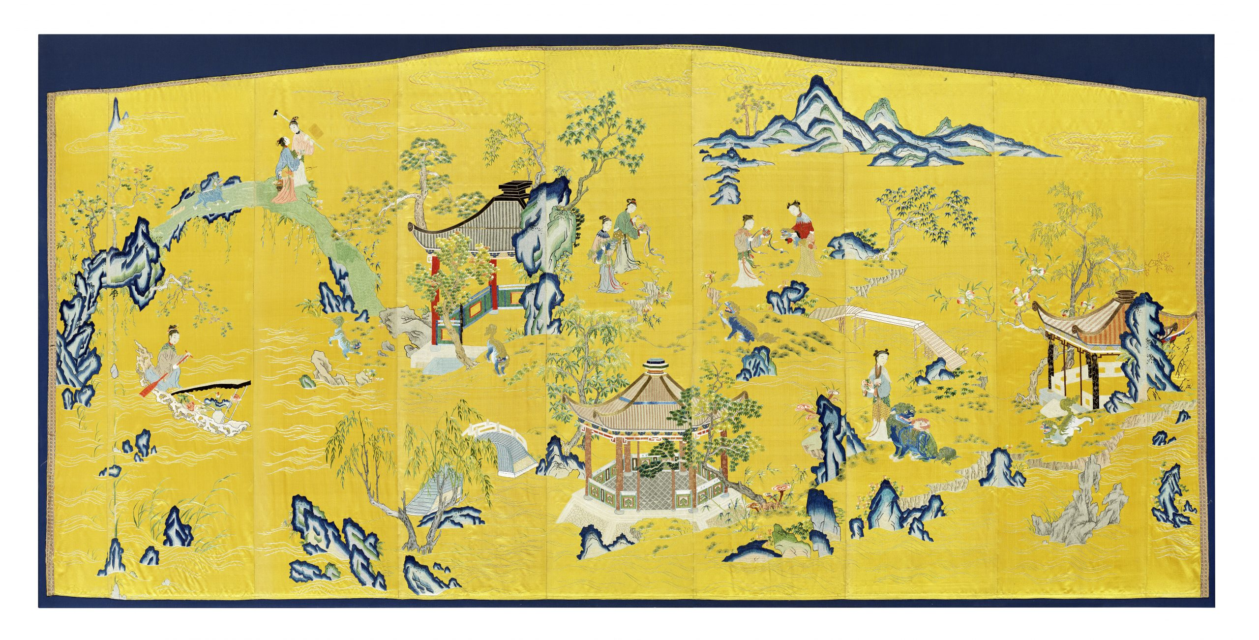 An exceptionally rare yellow-ground silk embroidered 'ladies and lions' screen panel, Qianlong - Fine Chinese Art Including Exceptional Textiles Curated by Linda Wrigglesworth