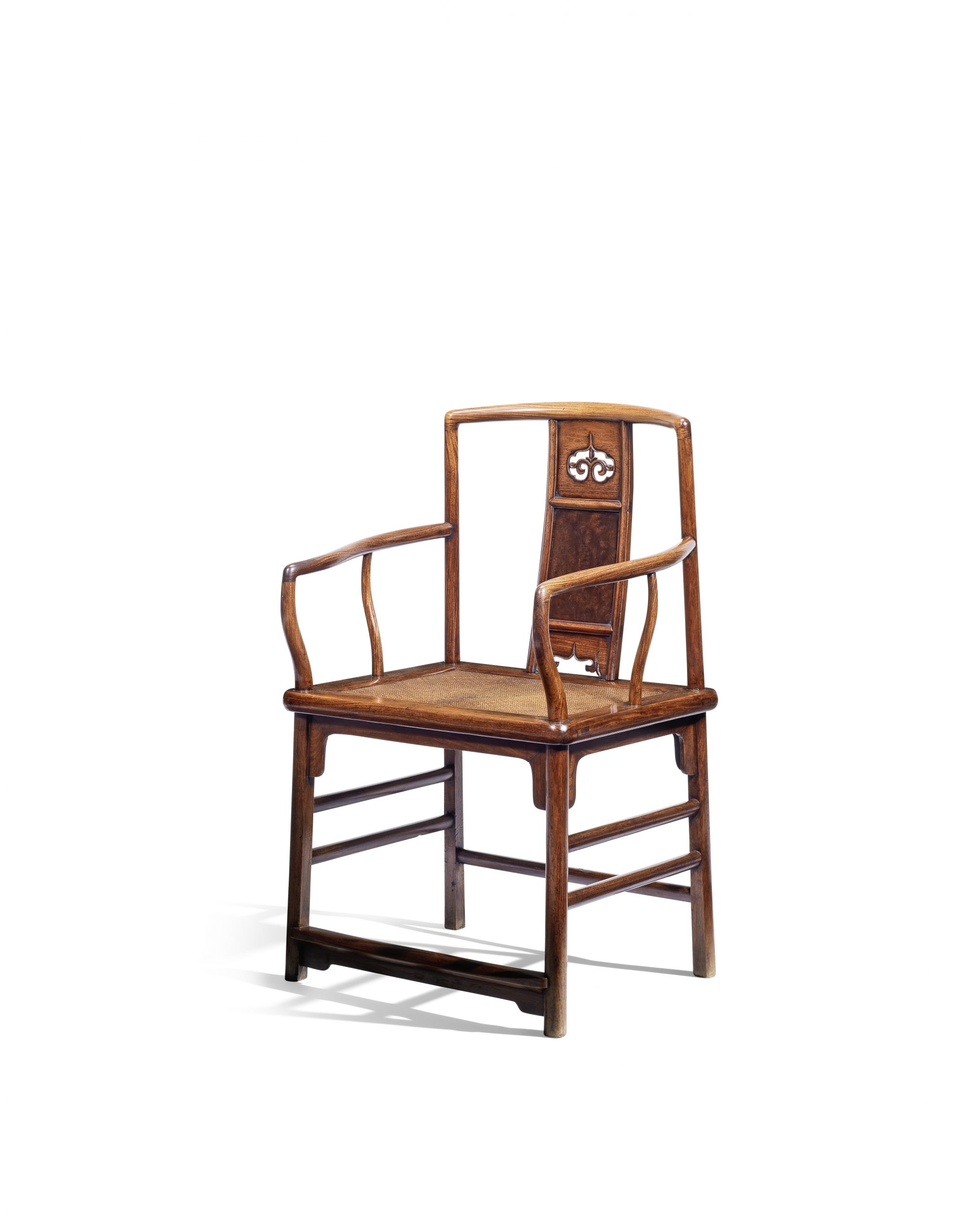 An extremely rare huanghuali low-back continuous yokeback armchair, nanguanmaoyi, 17th century - The H Collection.